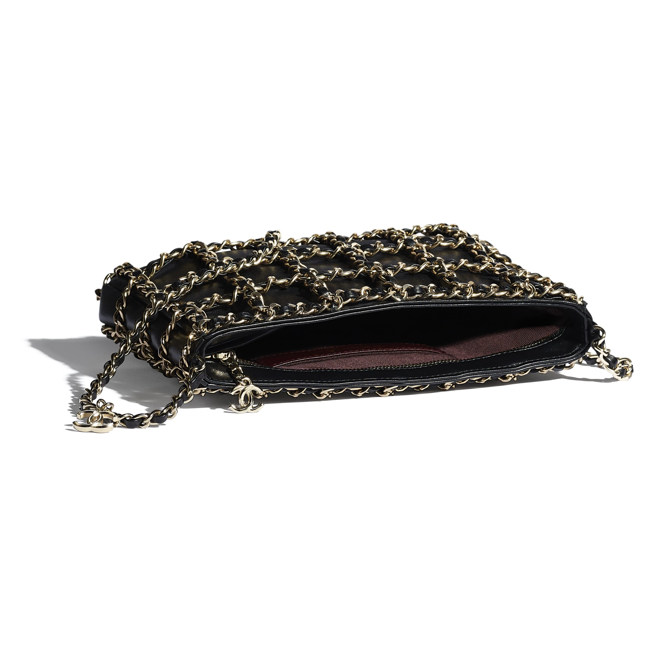 Clutch - Black - Lambskin & Gold Metal  - CHANEL - Other view - see standard sized version