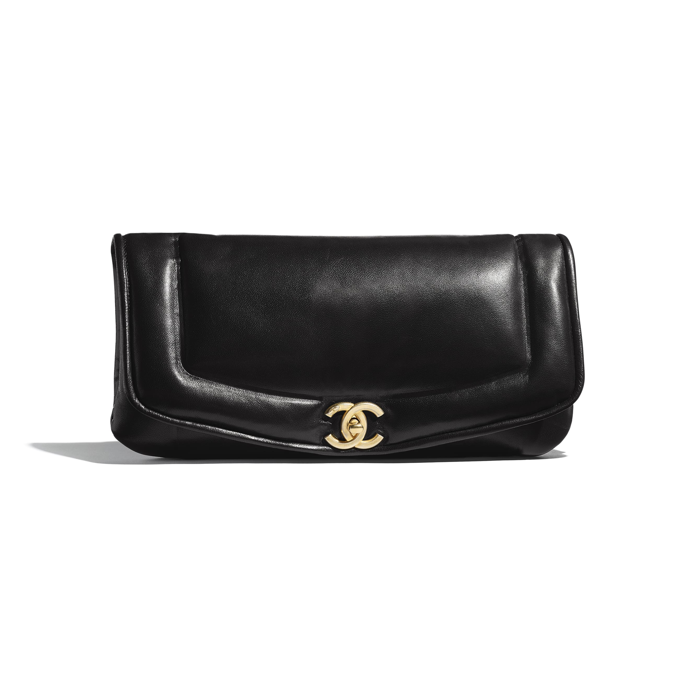 Clutch - Black - Lambskin & Gold-Tone Metal - Default view - see standard sized version