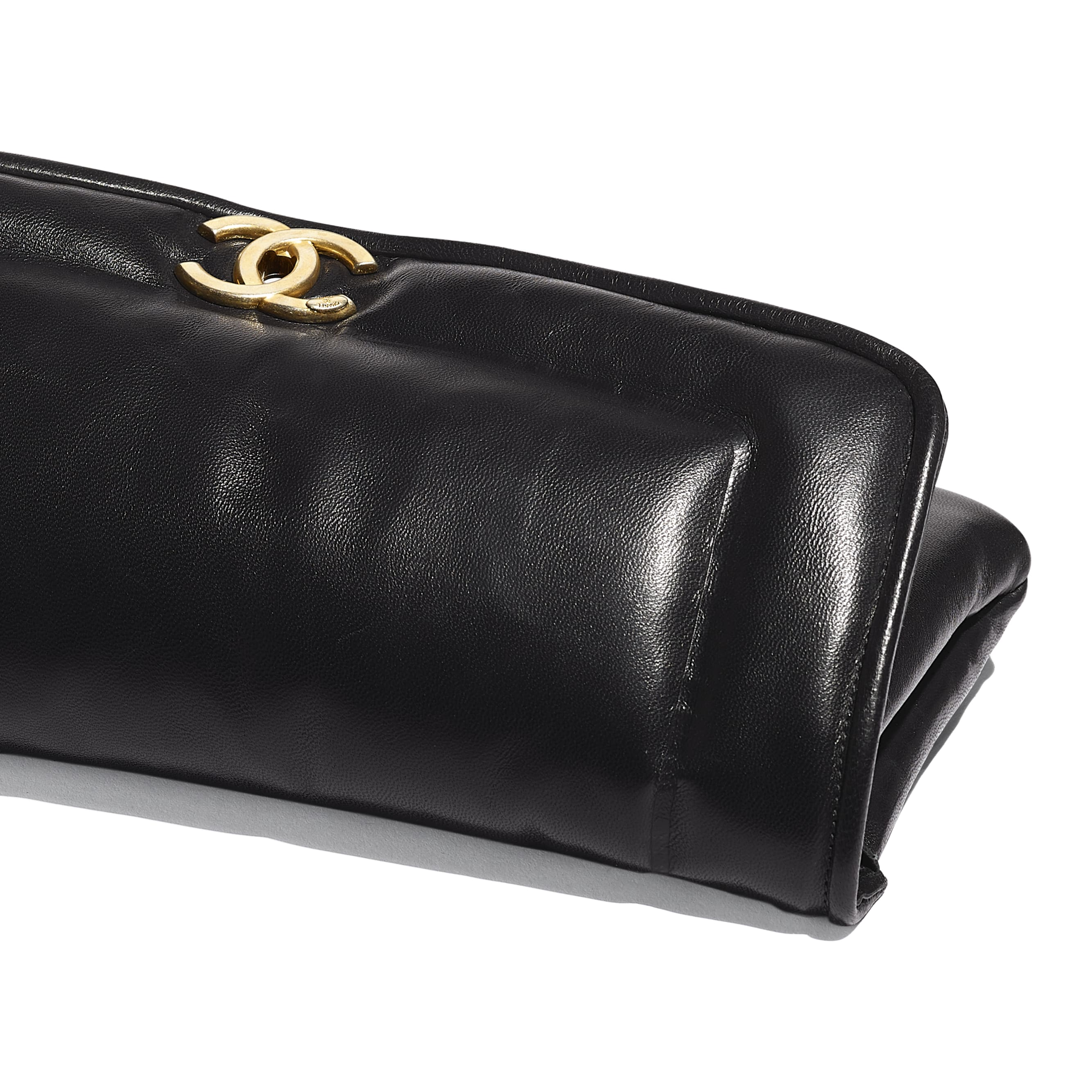 Clutch - Black - Lambskin & Gold-Tone Metal - Extra view - see standard sized version