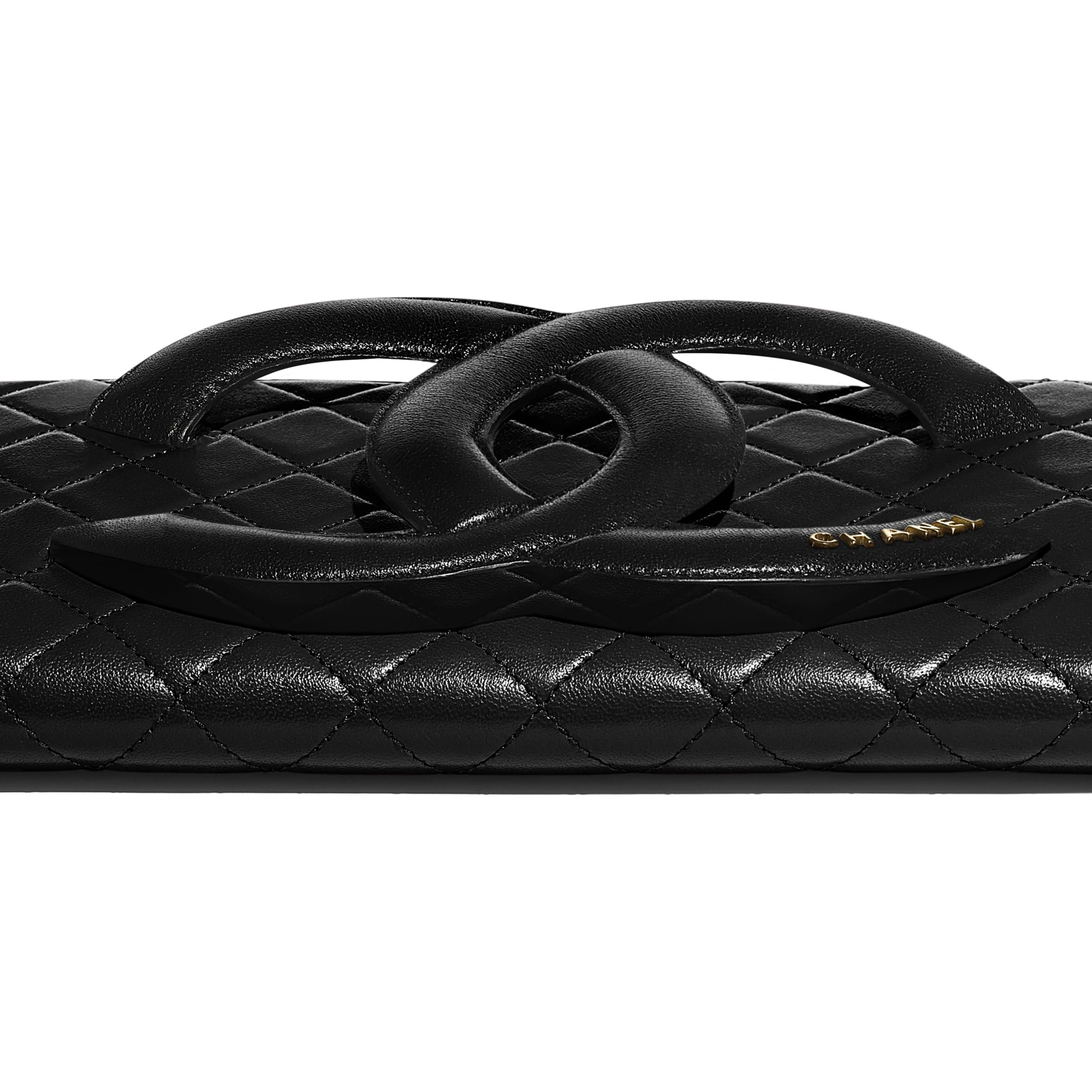 Clutch - Black - Lambskin & Gold-Tone Metal - CHANEL - Extra view - see standard sized version