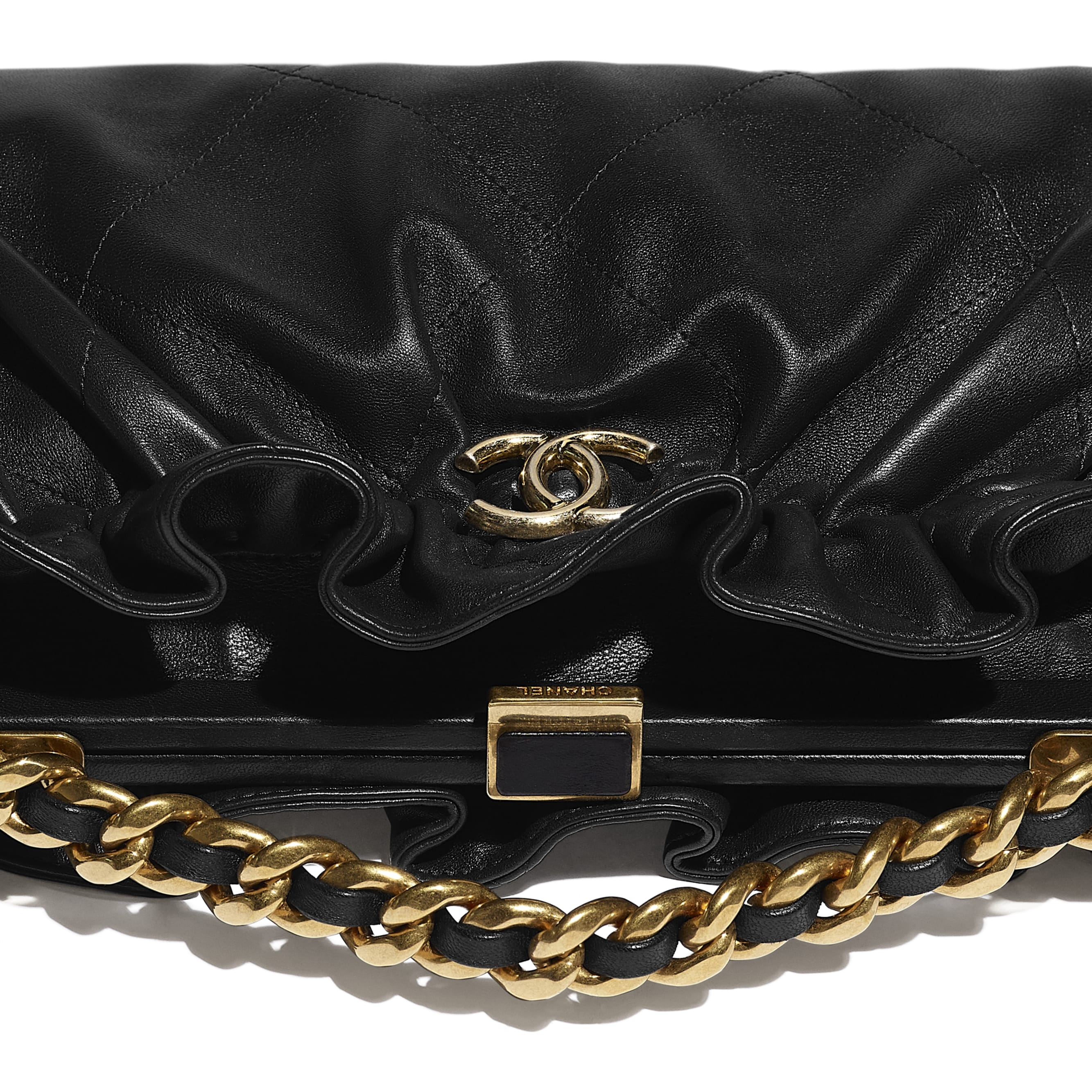 Clutch - Black - Lambskin - CHANEL - Extra view - see standard sized version