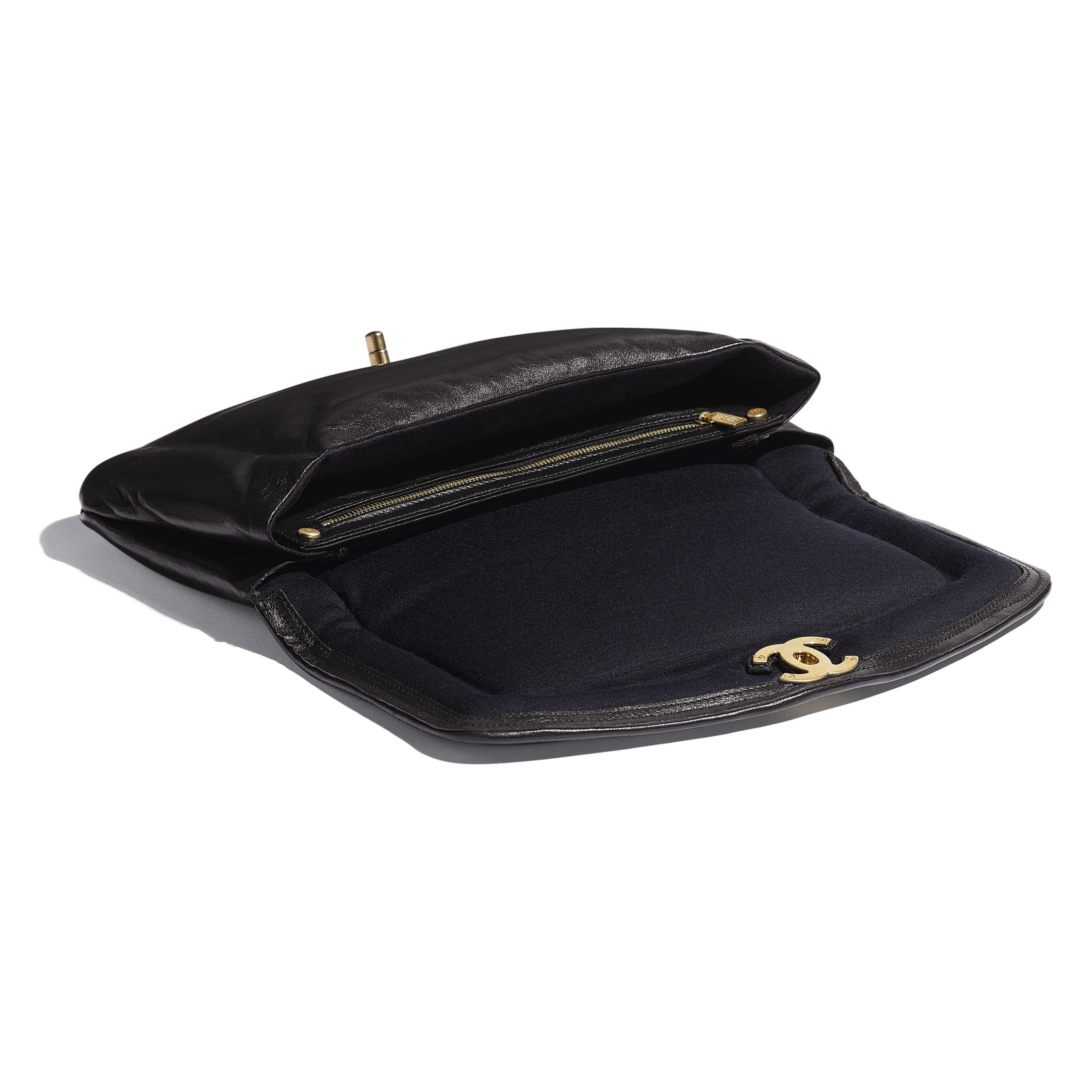 Clutch - Black - Lambskin & Gold-Tone Metal - Other view - see standard sized version