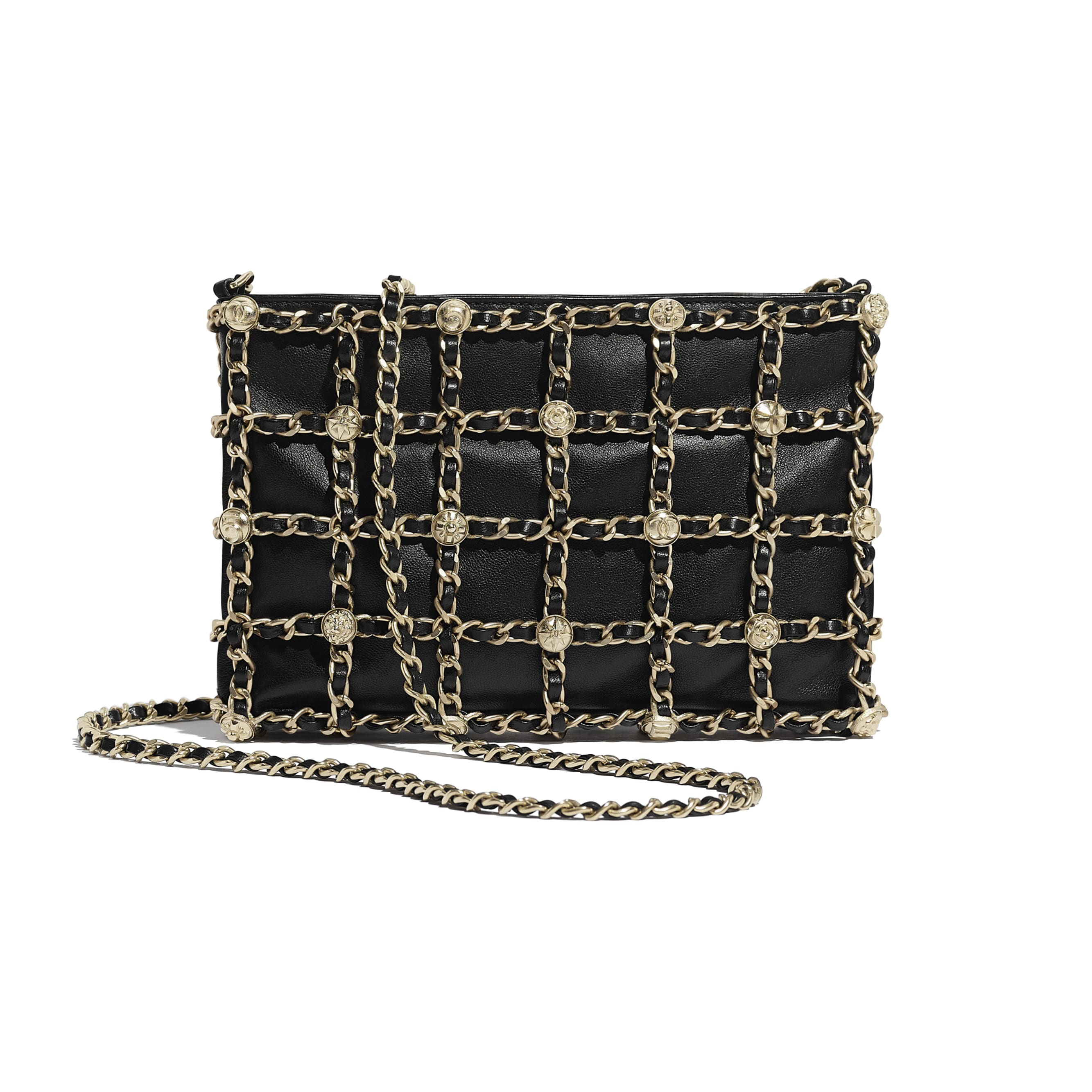 Clutch - Black - Lambskin, Studs & Gold-Tone Metal - CHANEL - Alternative view - see standard sized version