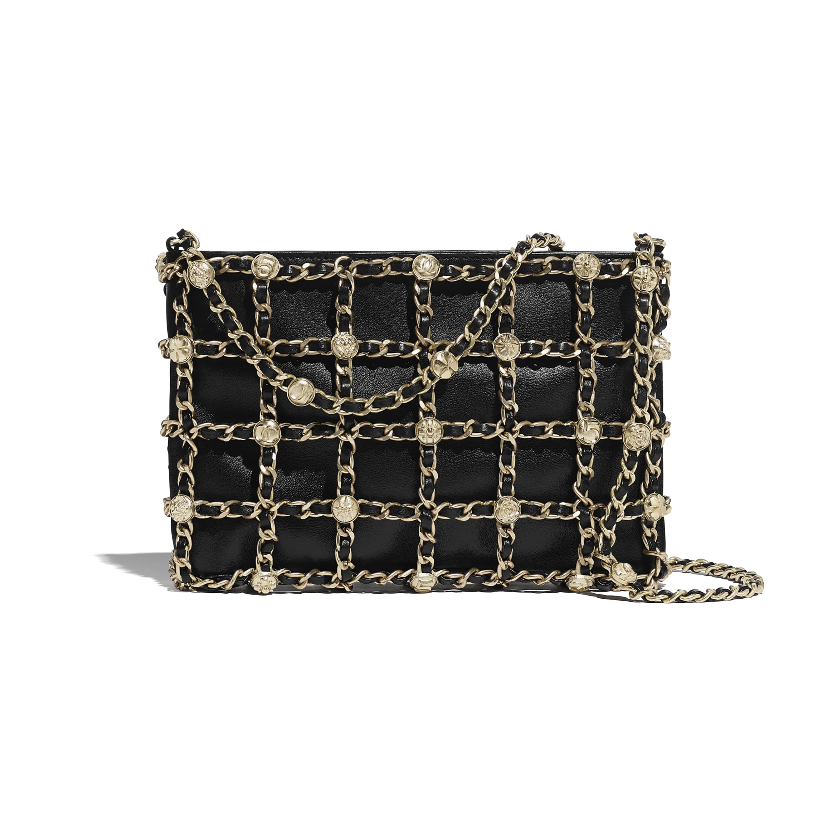 Clutch - Black - Lambskin, Studs & Gold-Tone Metal - CHANEL - Default view - see standard sized version