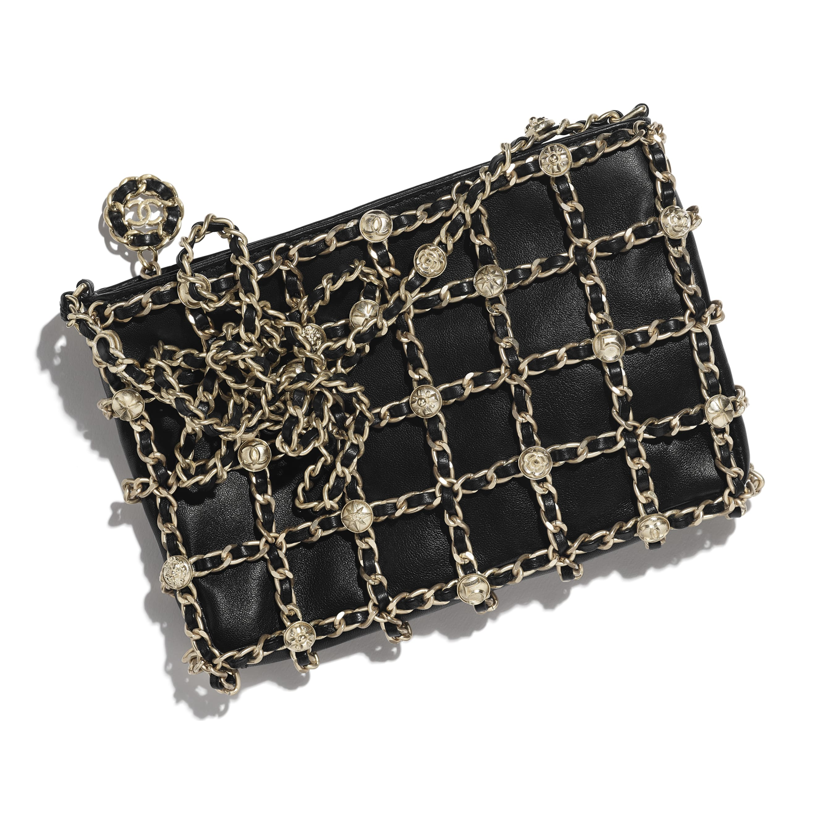 Clutch - Black - Lambskin, Studs & Gold-Tone Metal - CHANEL - Extra view - see standard sized version