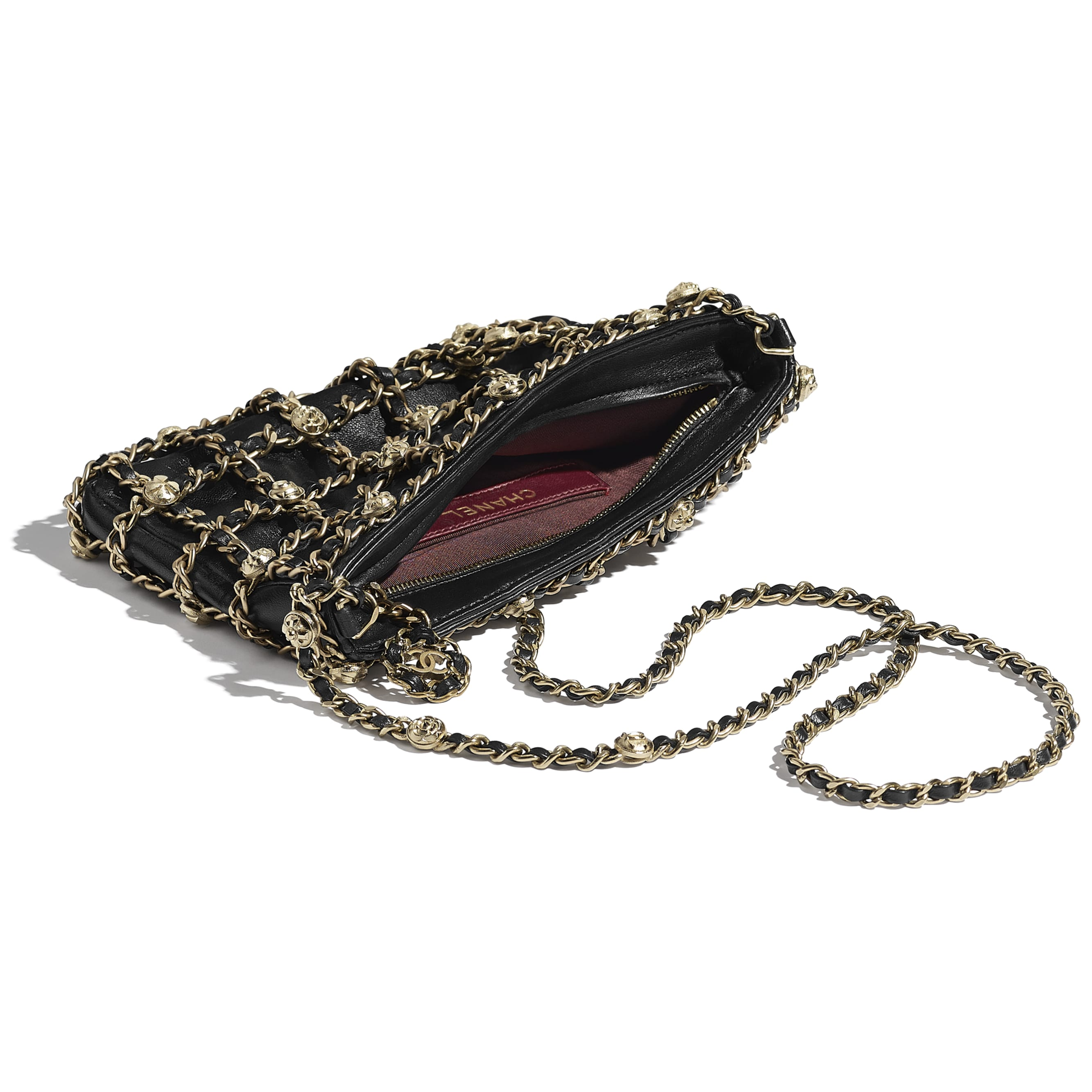 Clutch - Black - Lambskin, Studs & Gold-Tone Metal - CHANEL - Other view - see standard sized version