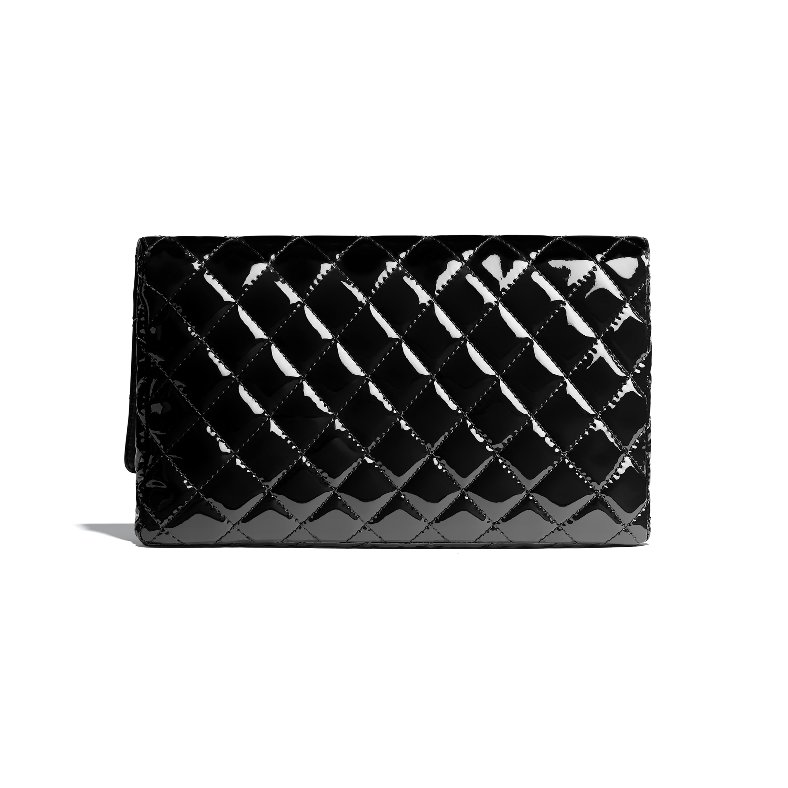 Clutch - Black - Patent Calfskin & Black Metal - Alternative view - see standard sized version