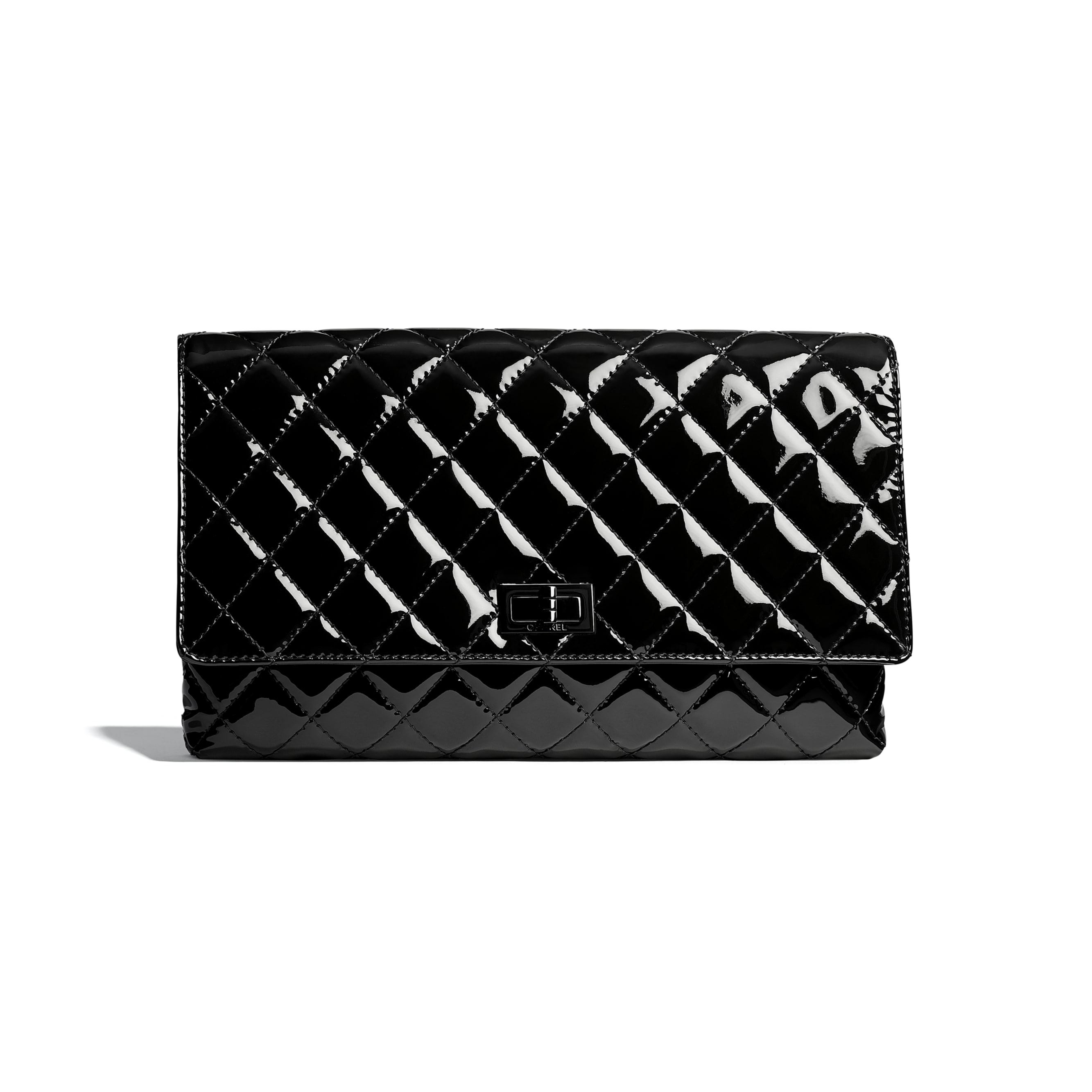 Clutch - Black - Patent Calfskin & Black Metal - Default view - see standard sized version