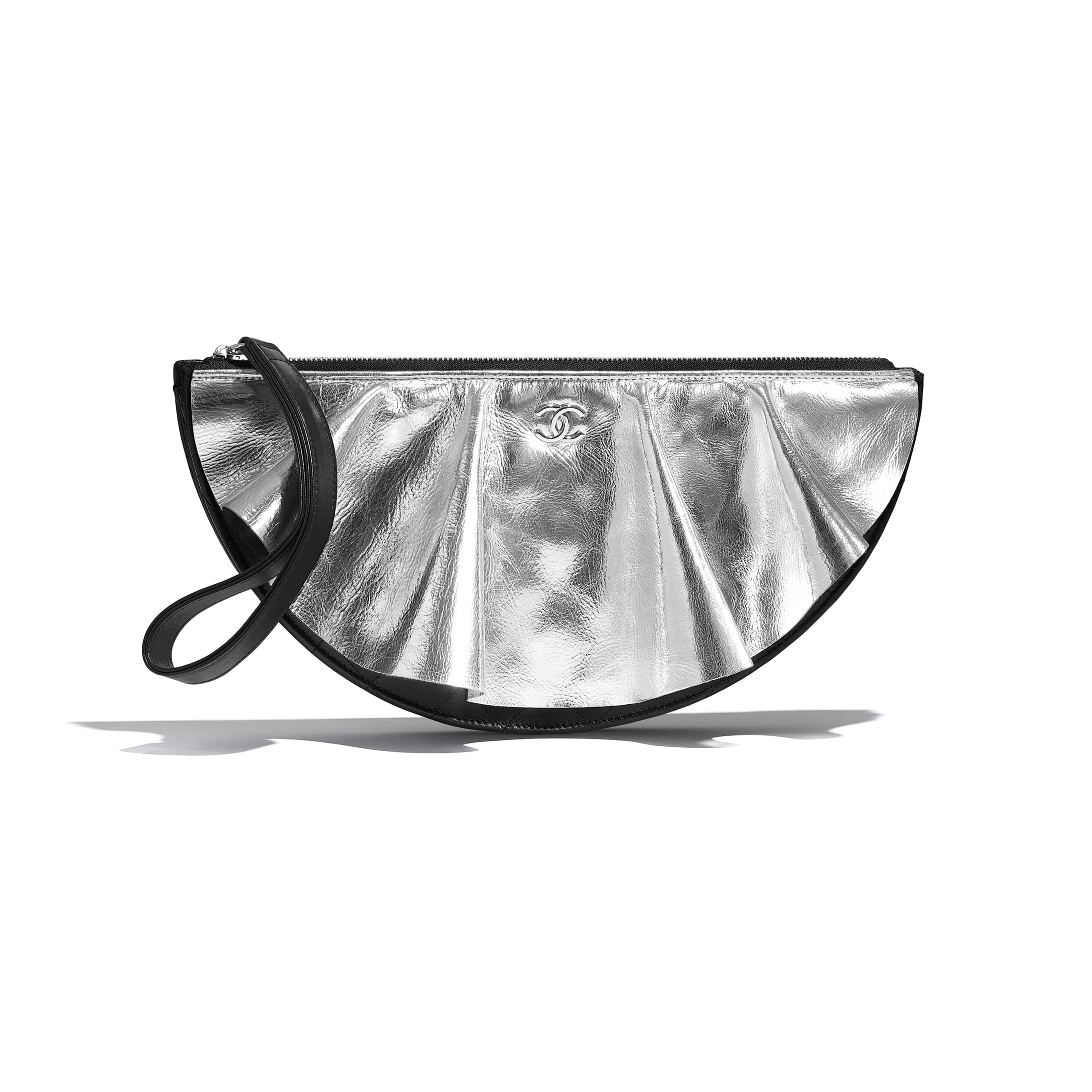 Clutch - Black, Silver & White - Lambskin, Metallic Goatskin & Silver-Tone Metal - Default view - see standard sized version