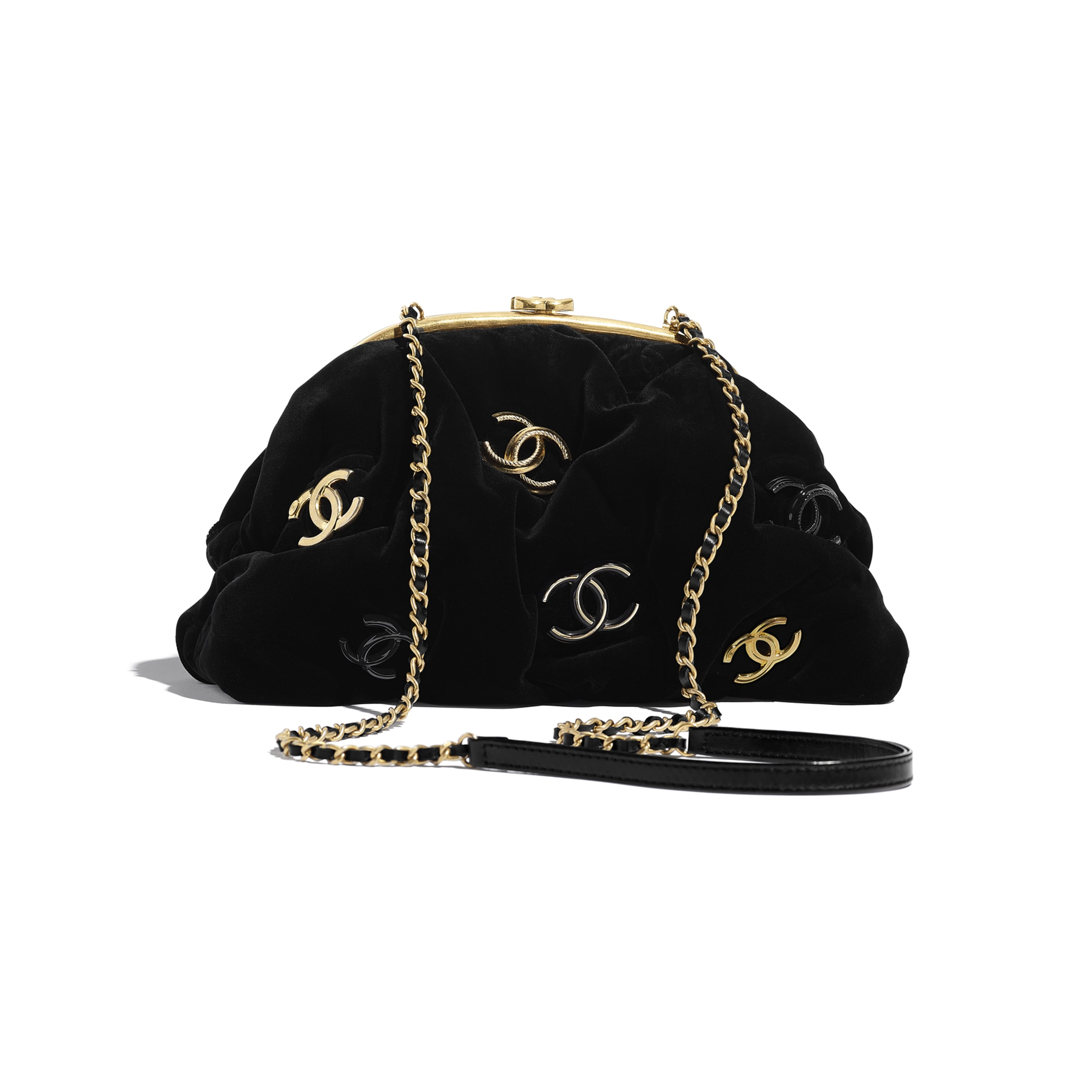 Clutch - Black - Velvet, Black & Gold-Tone Metal - CHANEL - Alternative view - see standard sized version