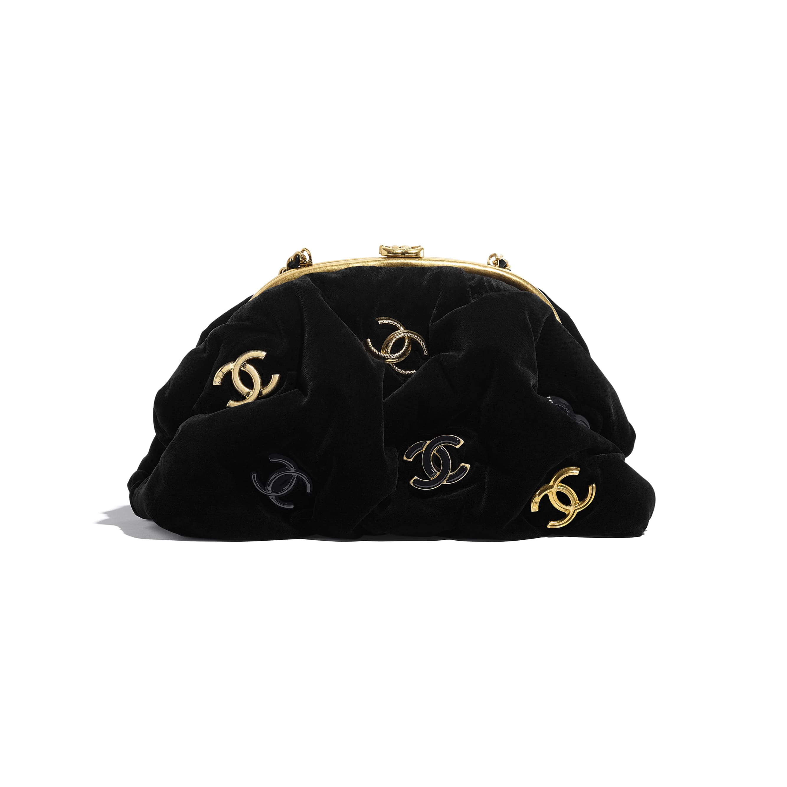 Clutch - Black - Velvet, Black & Gold-Tone Metal - CHANEL - Default view - see standard sized version