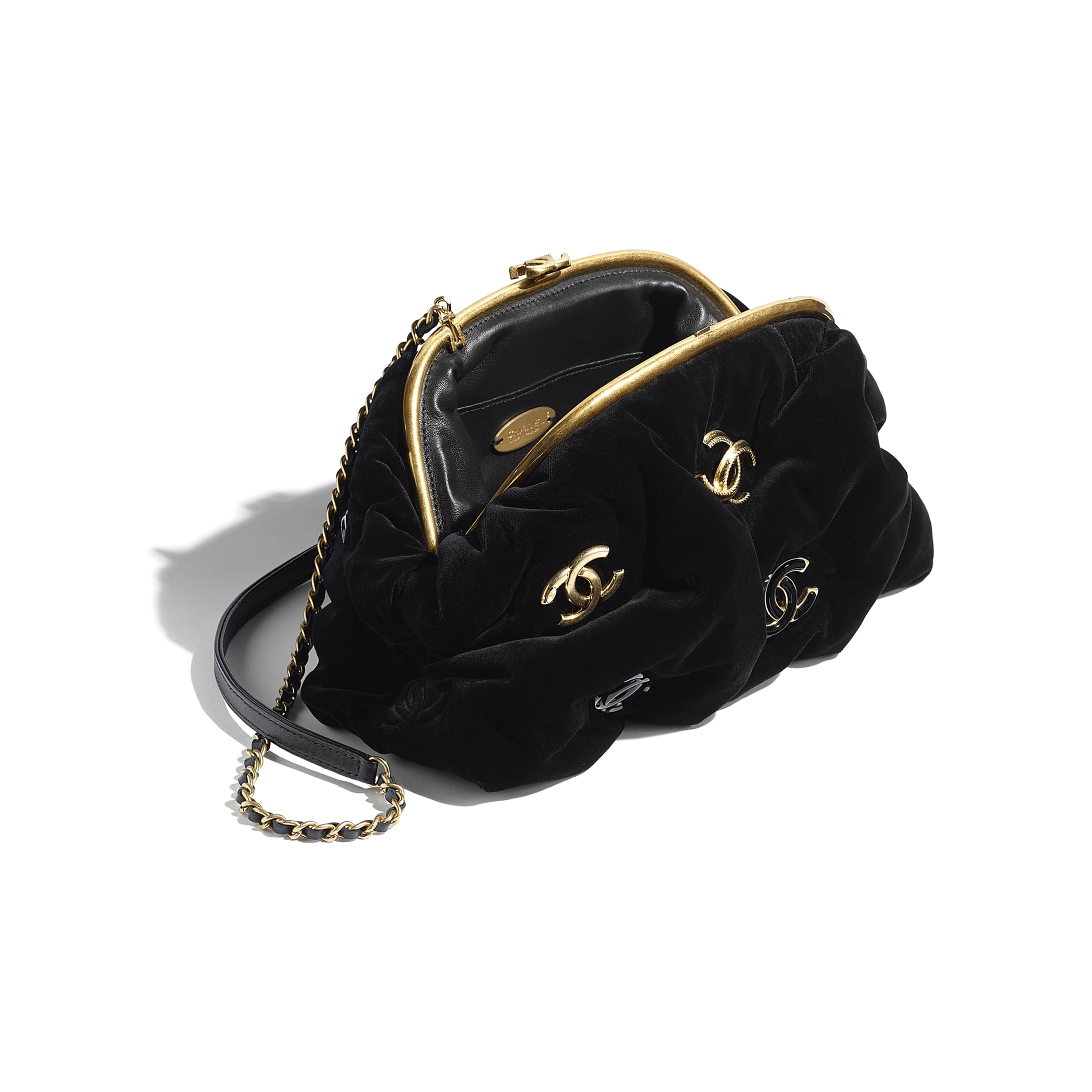 Clutch - Black - Velvet, Black & Gold-Tone Metal - CHANEL - Other view - see standard sized version
