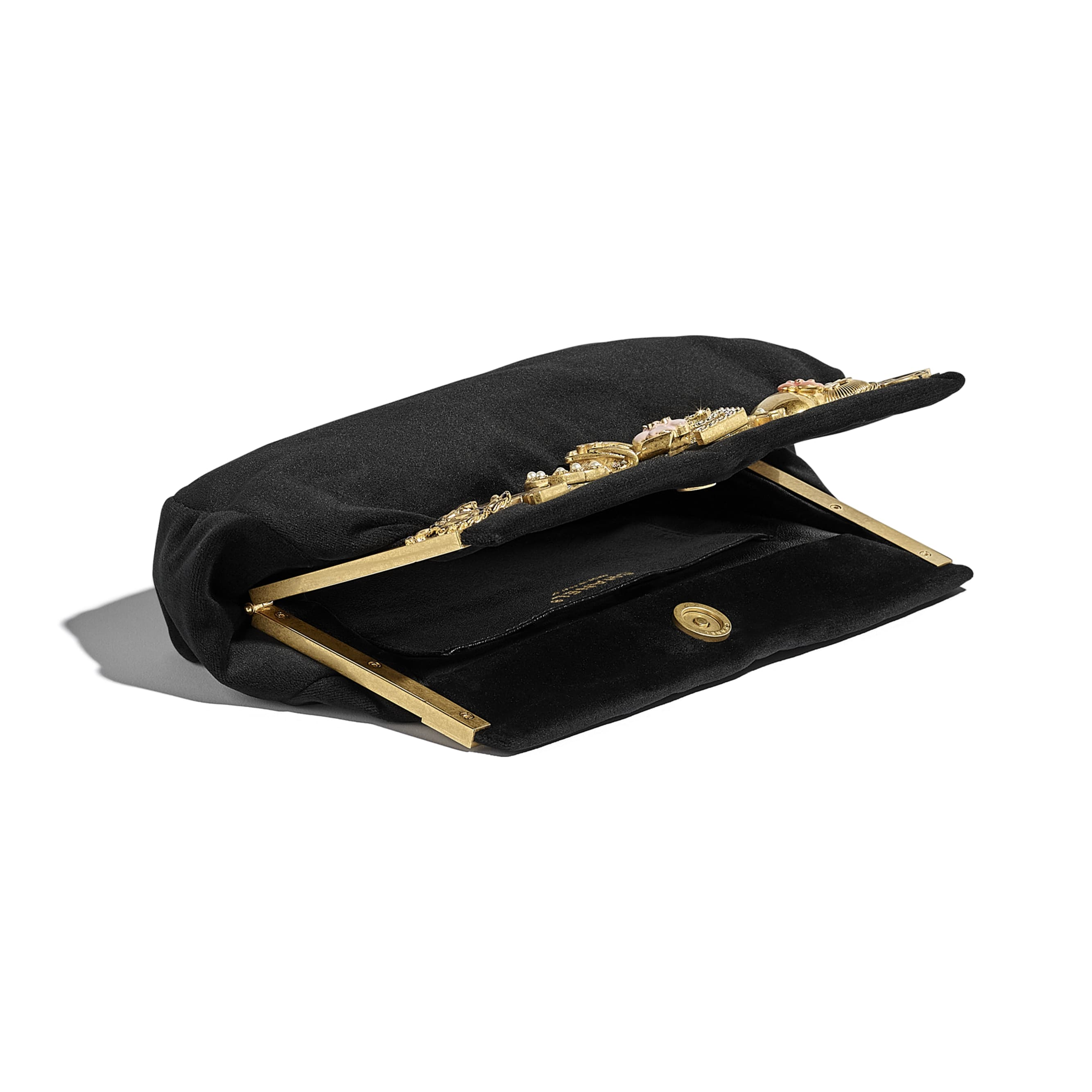 Clutch - Black - Velvet, Brass, Charms & Gold-Tone Metal - CHANEL - Other view - see standard sized version