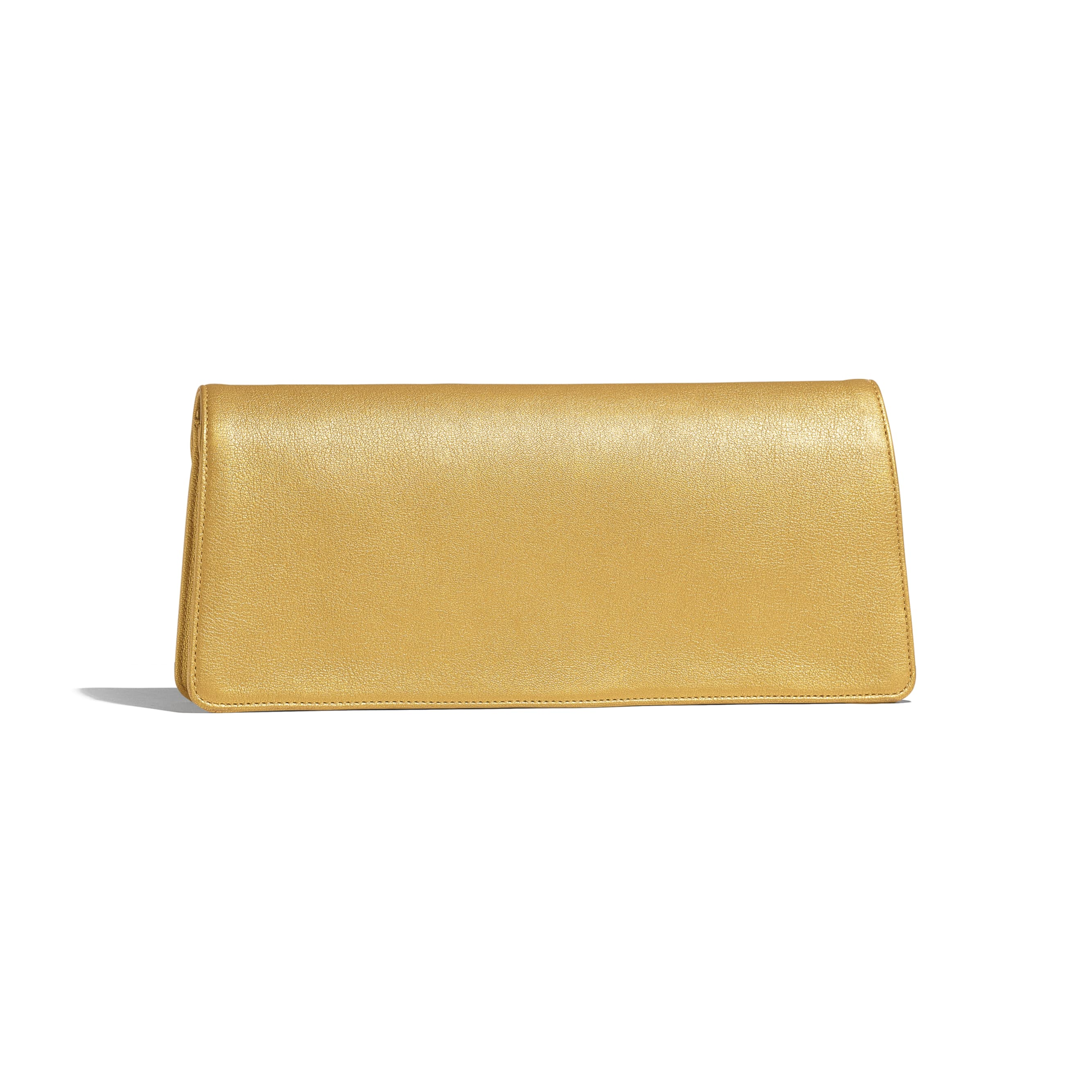 Clutch - Gold - Metallic Lambskin & Gold-Tone Metal - Alternative view - see standard sized version