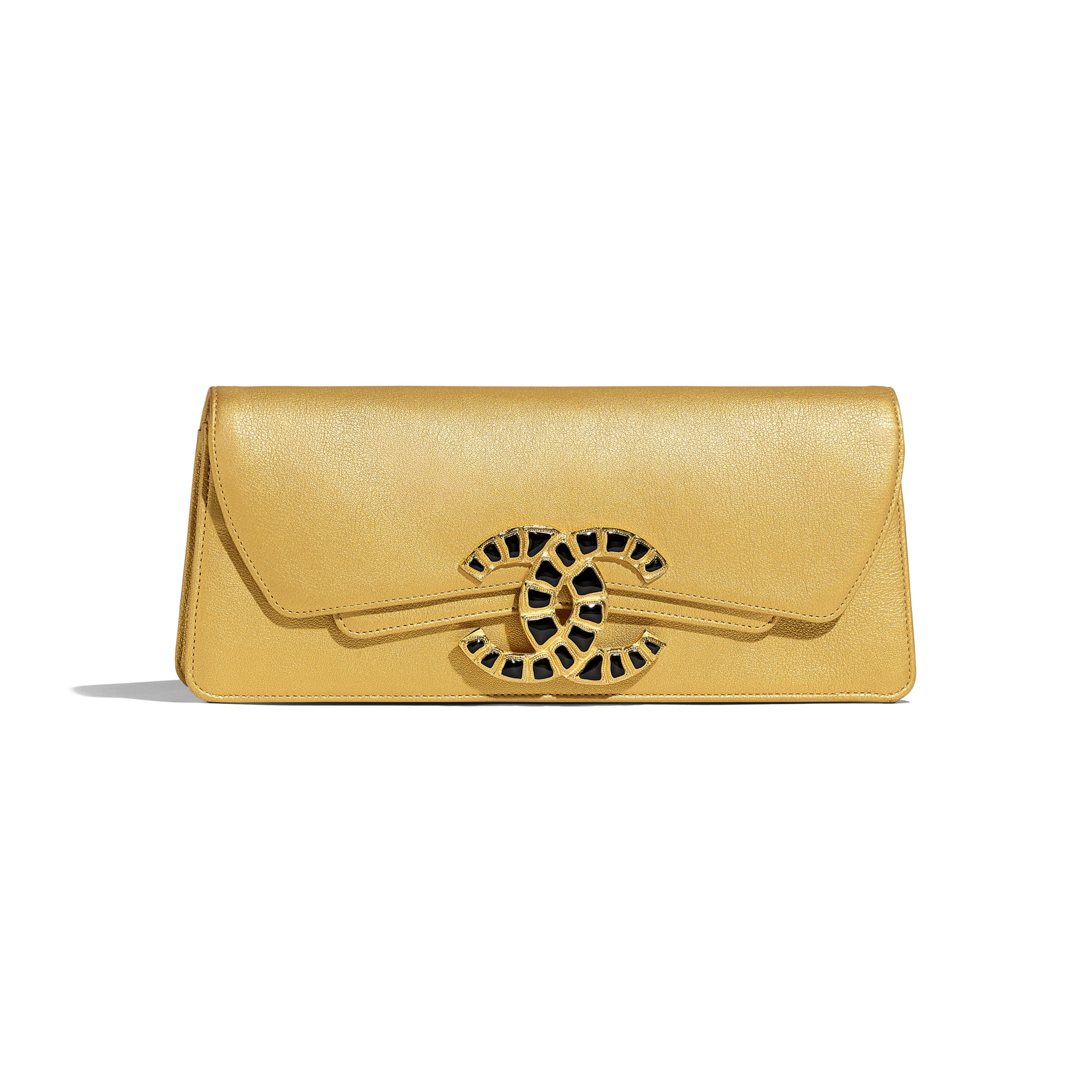 Clutch - Gold - Metallic Lambskin & Gold-Tone Metal - Default view - see standard sized version