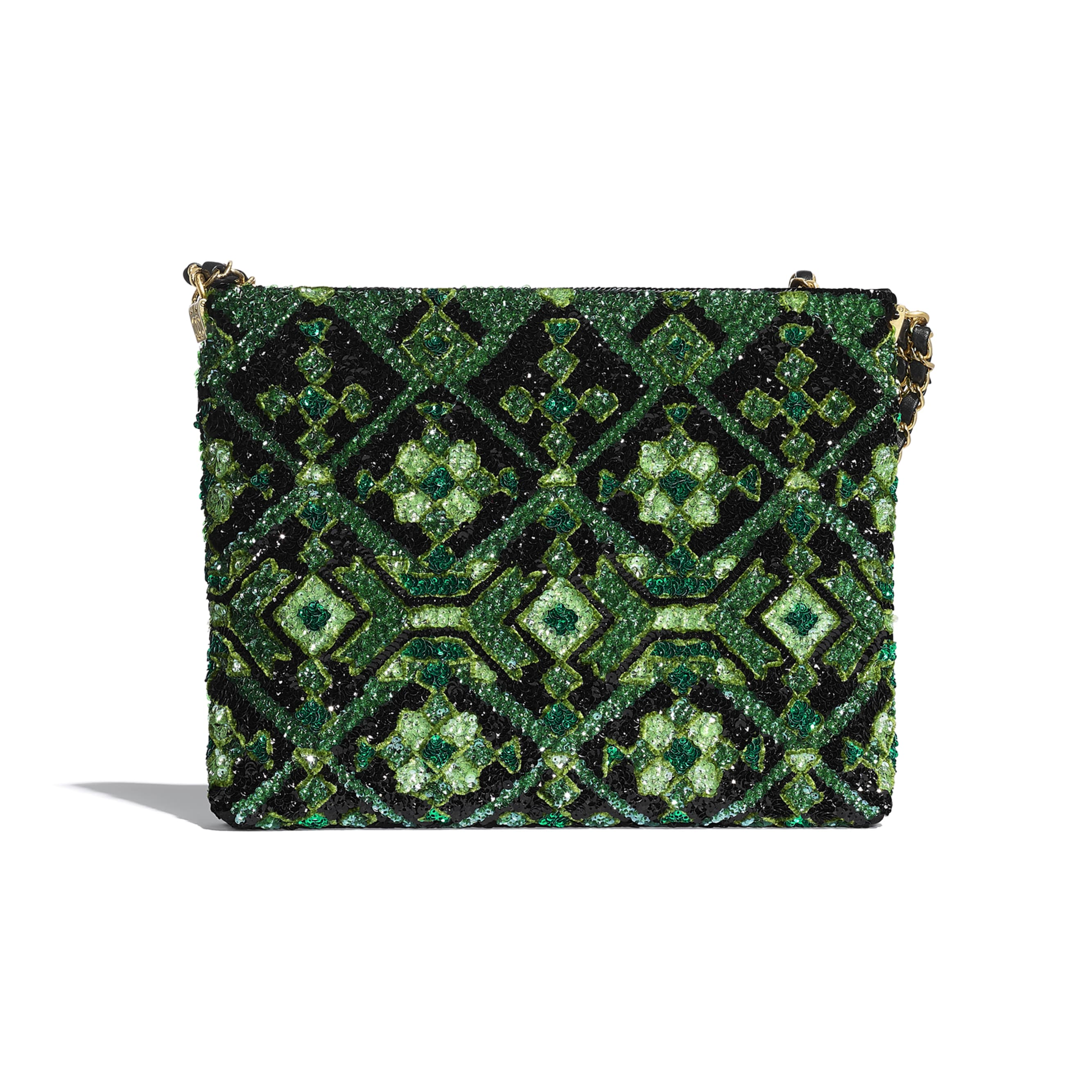 Clutch - Green & Black - Sequins & Gold-Tone Metal - CHANEL - Alternative view - see standard sized version