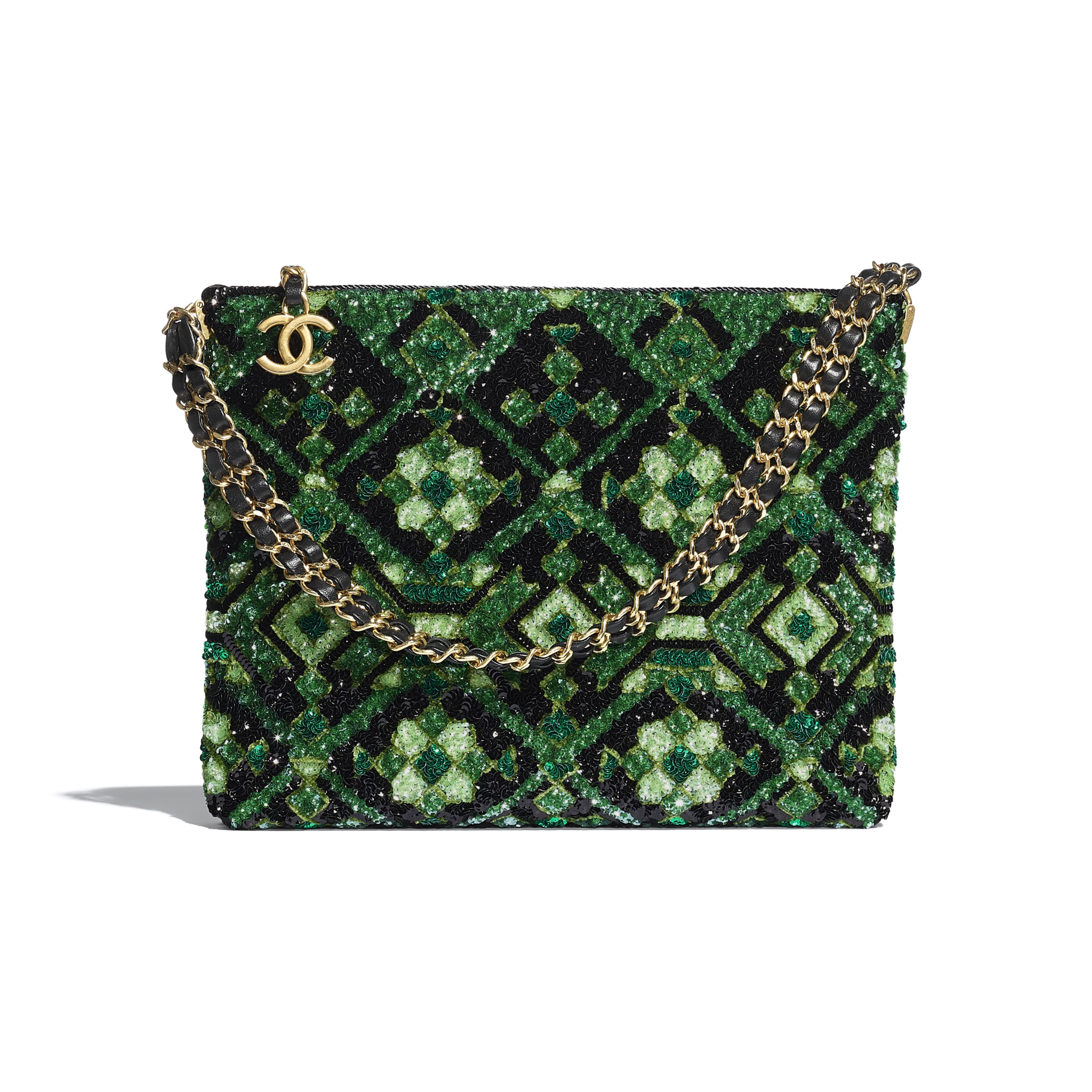 Clutch - Green & Black - Sequins & Gold-Tone Metal - CHANEL - Default view - see standard sized version