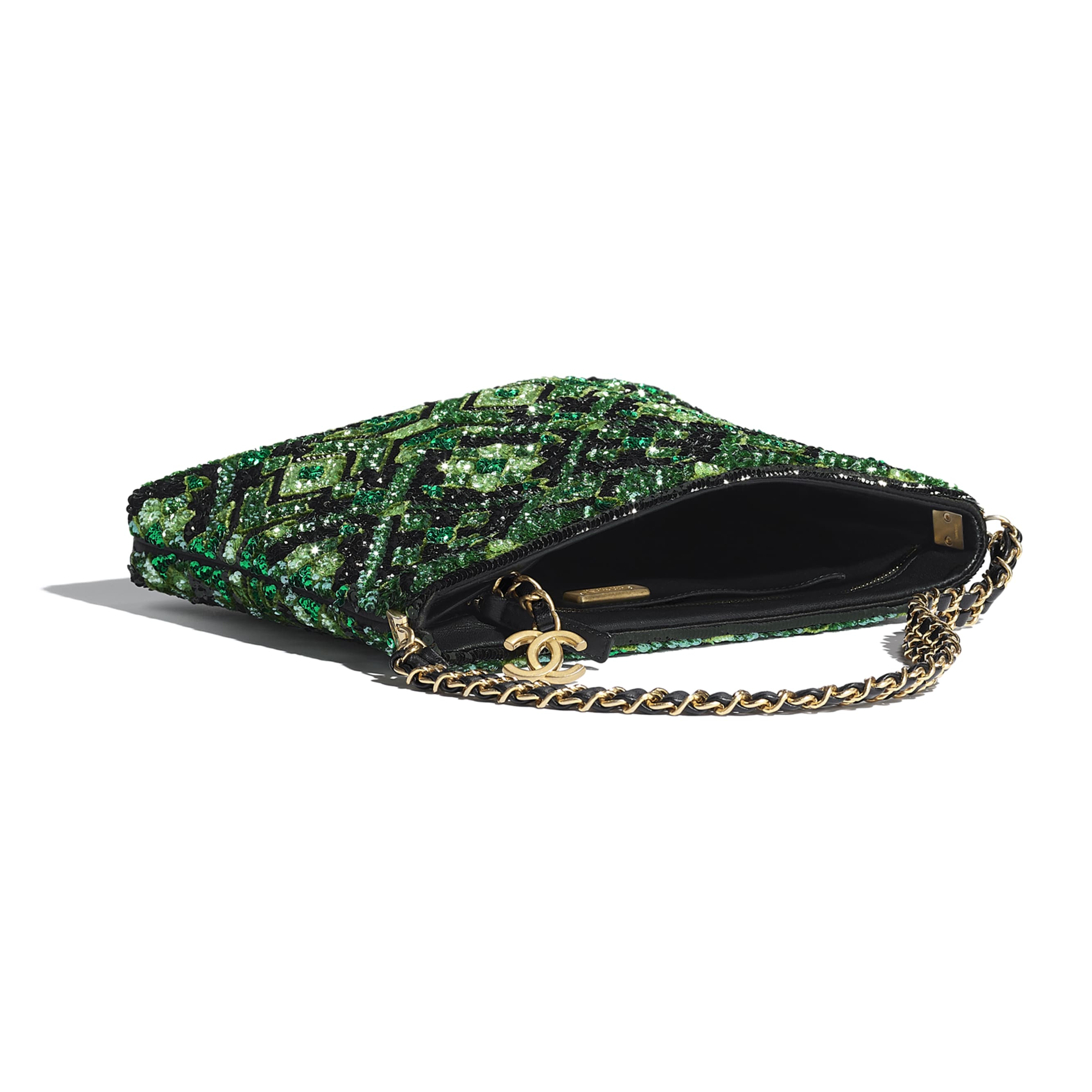 Clutch - Green & Black - Sequins & Gold-Tone Metal - CHANEL - Other view - see standard sized version