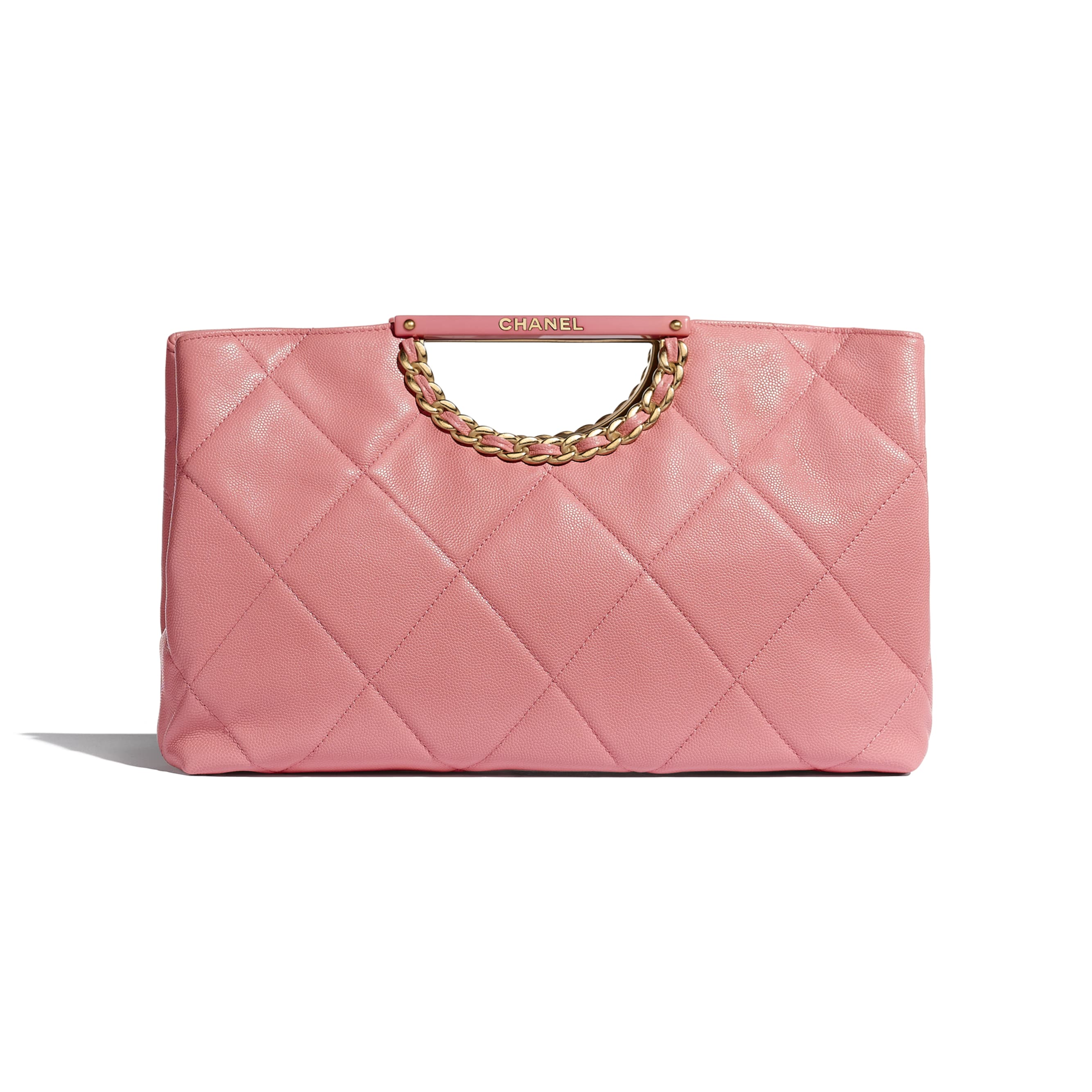 Clutch - Pink - Grained Calfskin & Gold-Tone Metal - Alternative view - see standard sized version