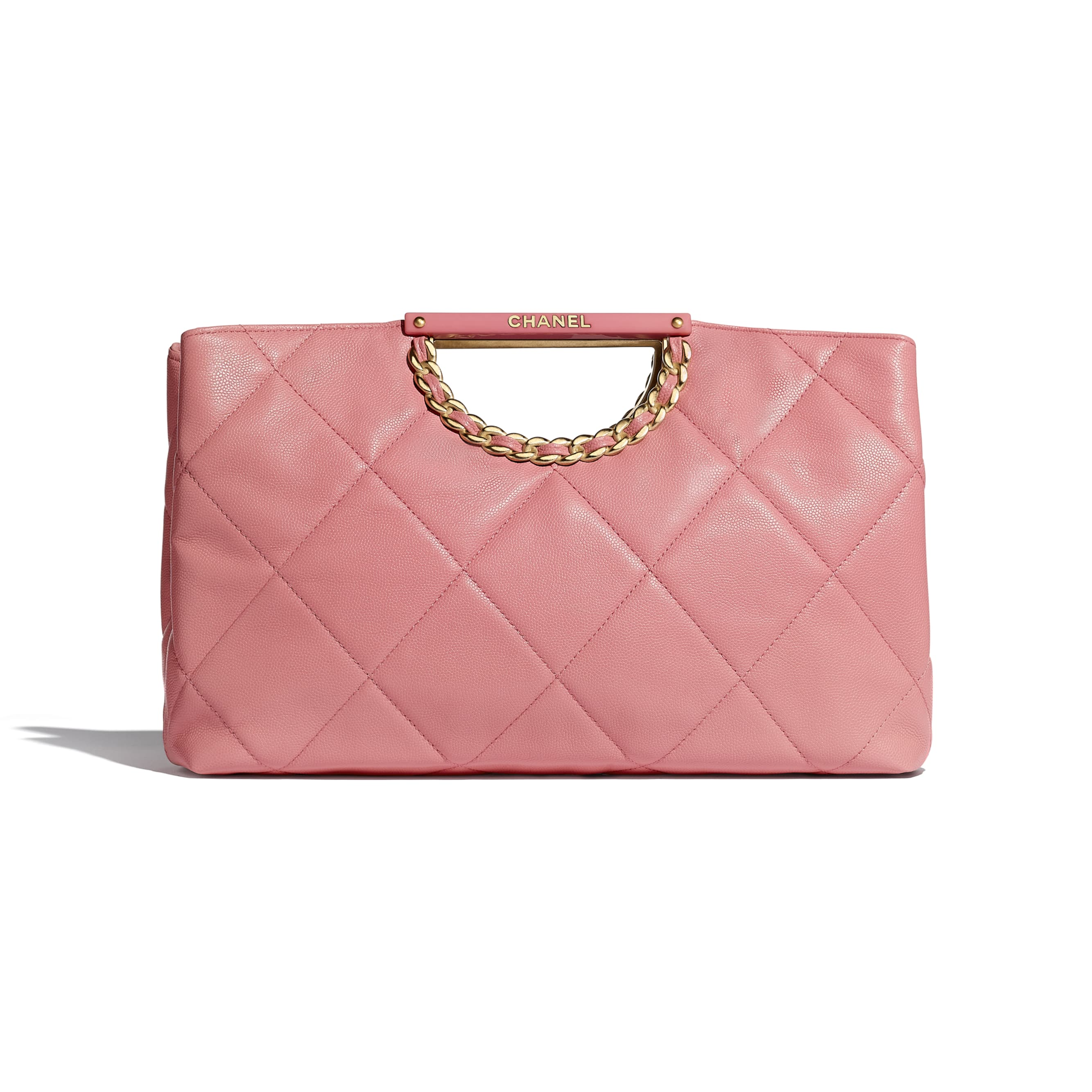 Clutch - Pink - Grained Calfskin & Gold-Tone Metal - Default view - see standard sized version