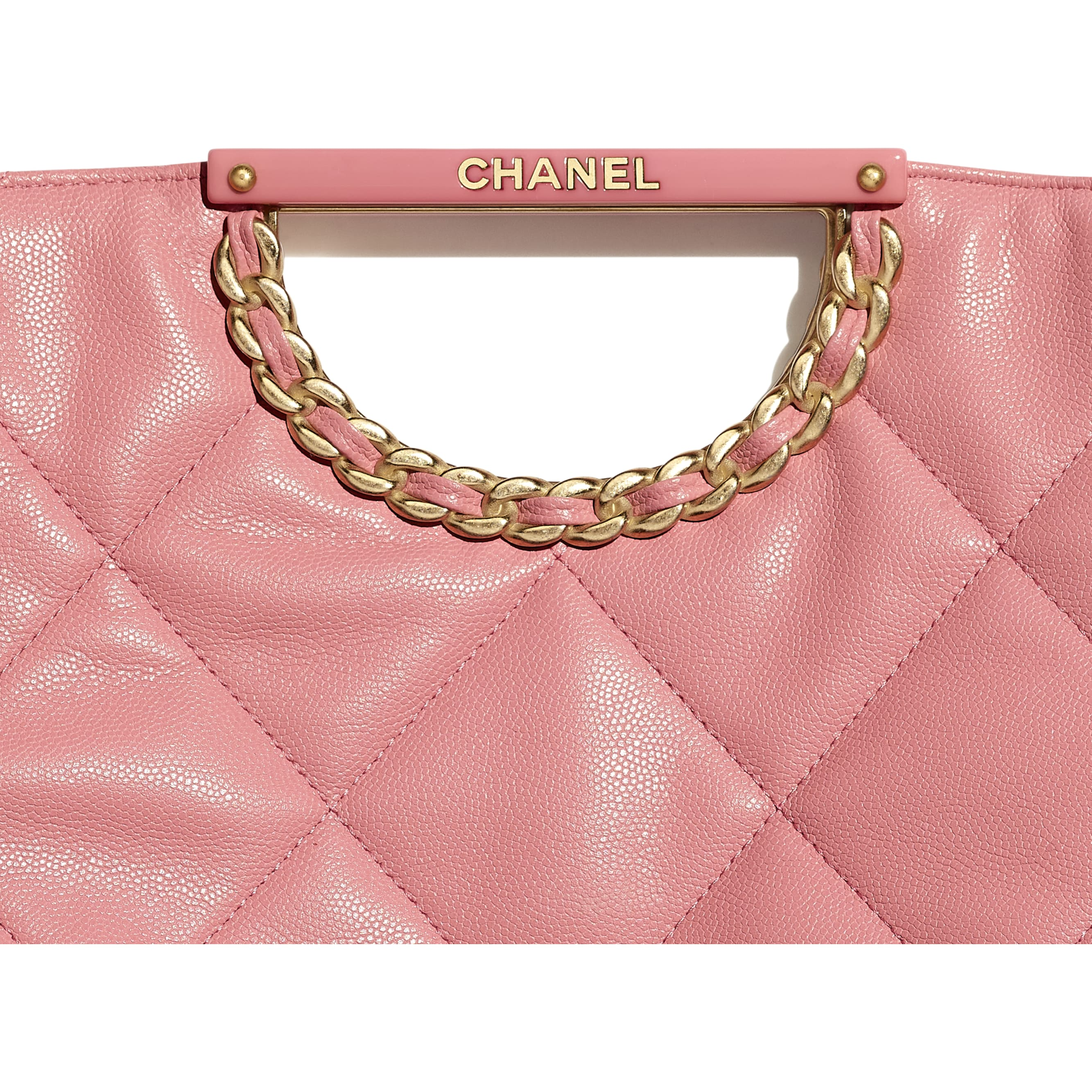 Clutch - Pink - Grained Calfskin & Gold-Tone Metal - Extra view - see standard sized version