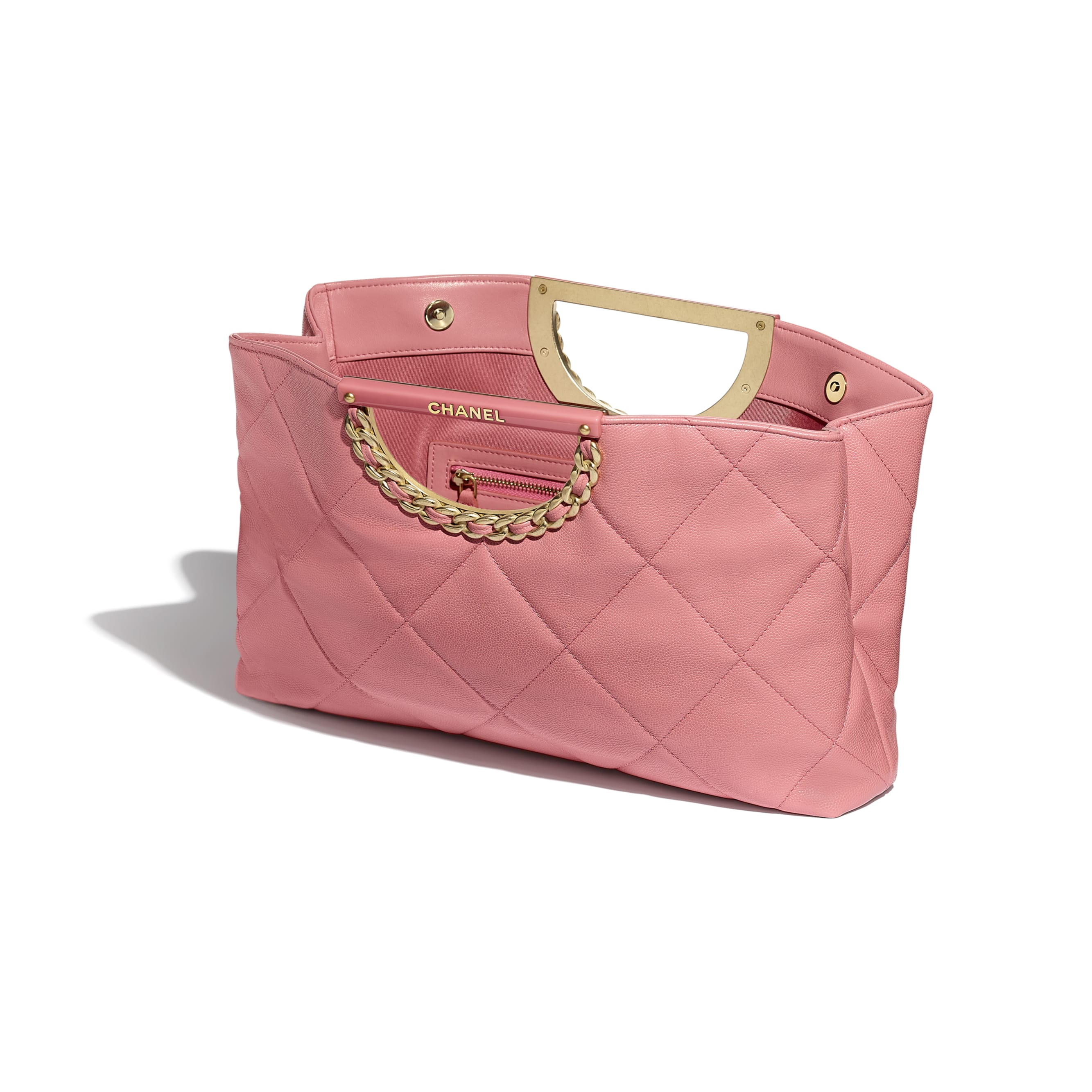 Clutch - Pink - Grained Calfskin & Gold-Tone Metal - Other view - see standard sized version