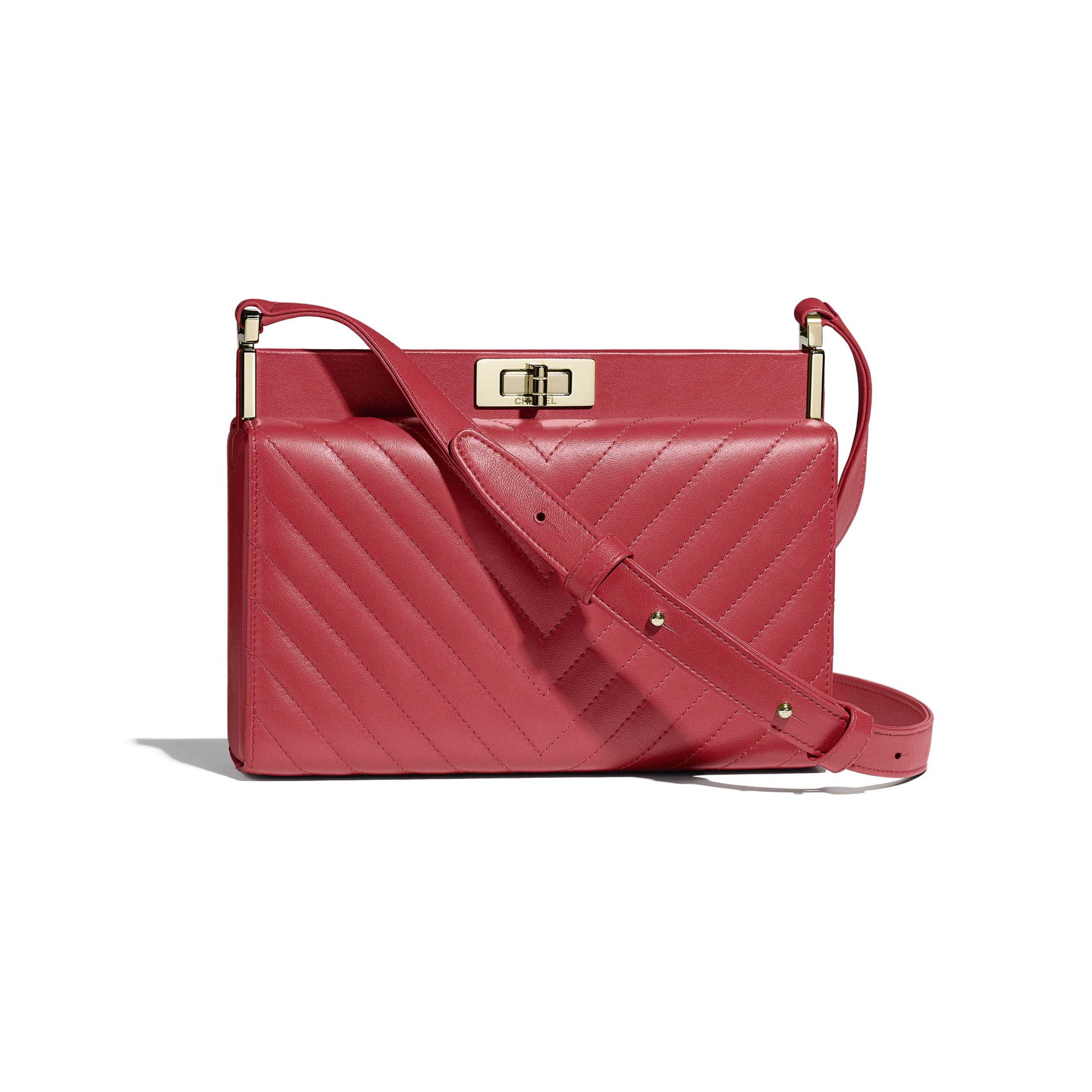 Clutch - Red - Lambskin & Gold-Tone Metal - Default view - see standard sized version