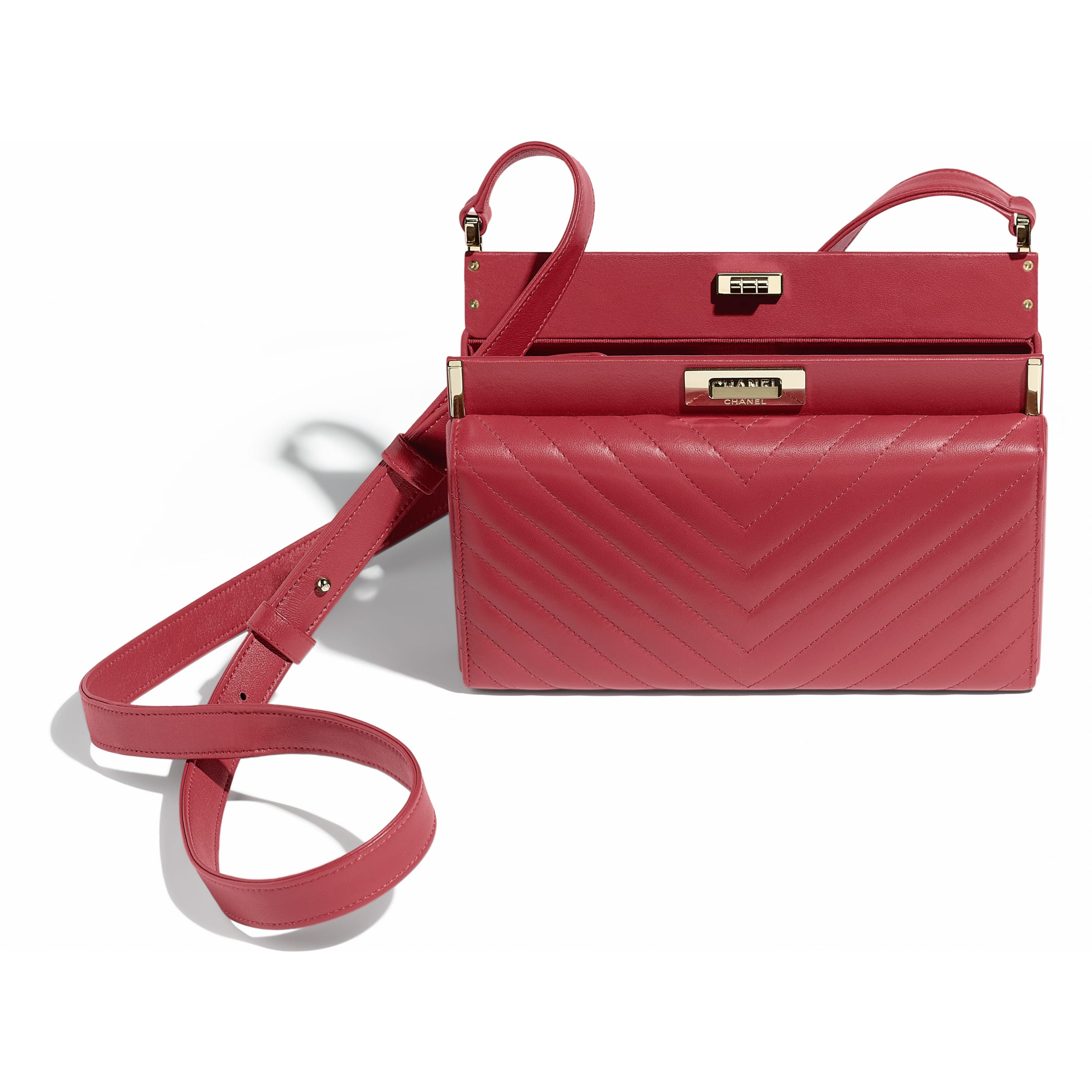 Clutch - Red - Lambskin & Gold-Tone Metal - Other view - see standard sized version