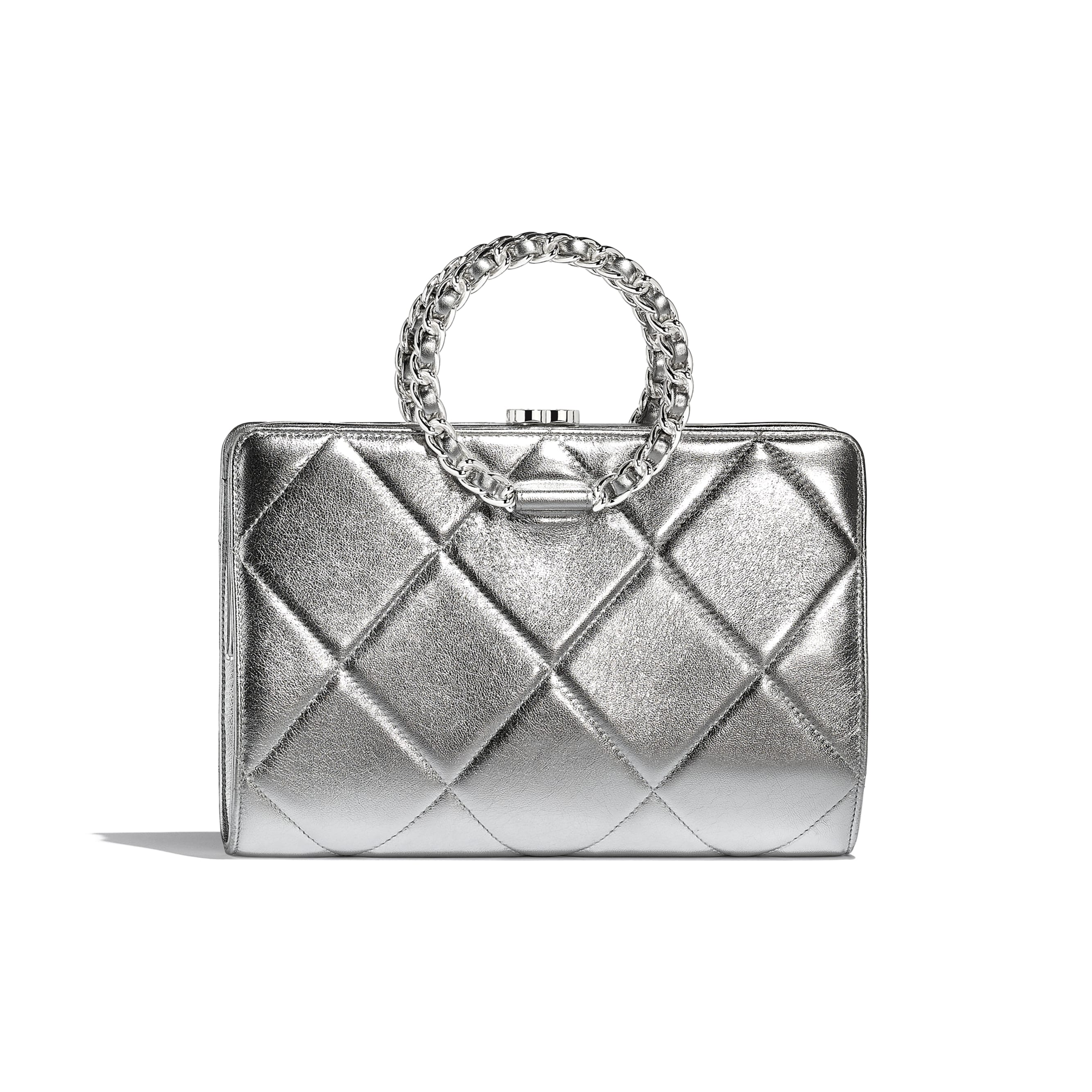Clutch - Silver - Metallic Crumpled Lambskin & Silver-Tone Metal  - Default view - see standard sized version