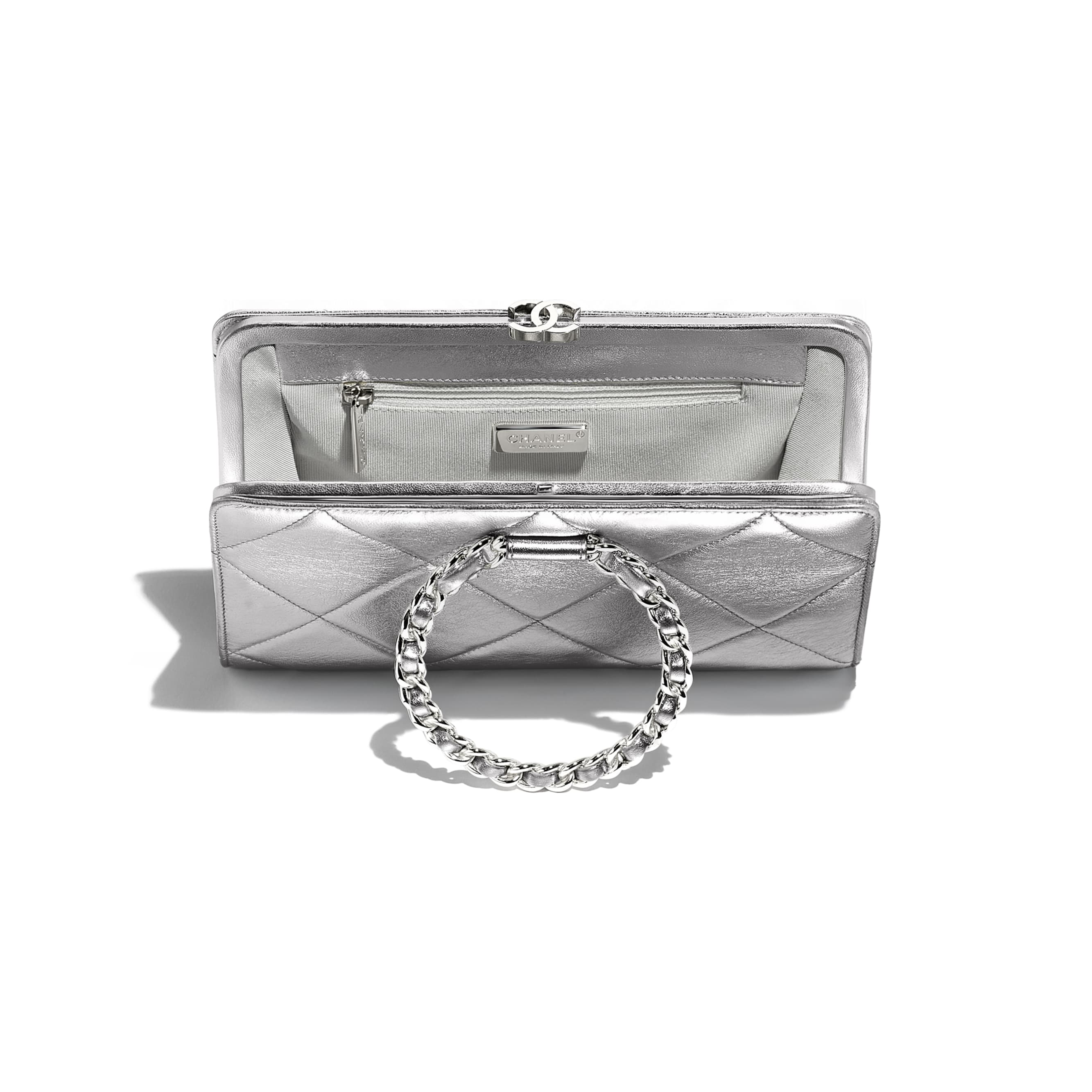 Clutch - Silver - Metallic Crumpled Lambskin & Silver-Tone Metal  - Other view - see standard sized version
