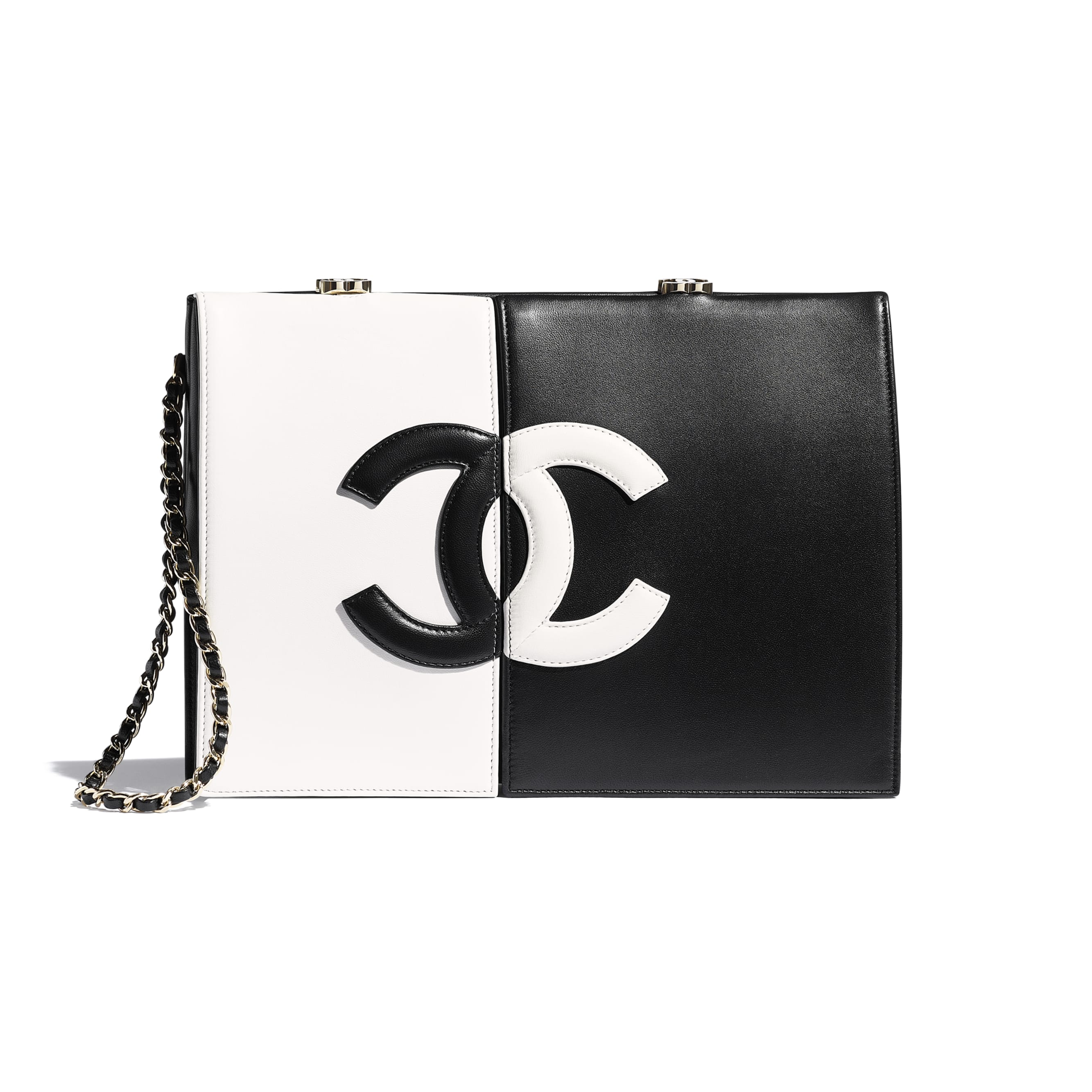 Clutch - White & Black - Lambskin - CHANEL - Default view - see standard sized version