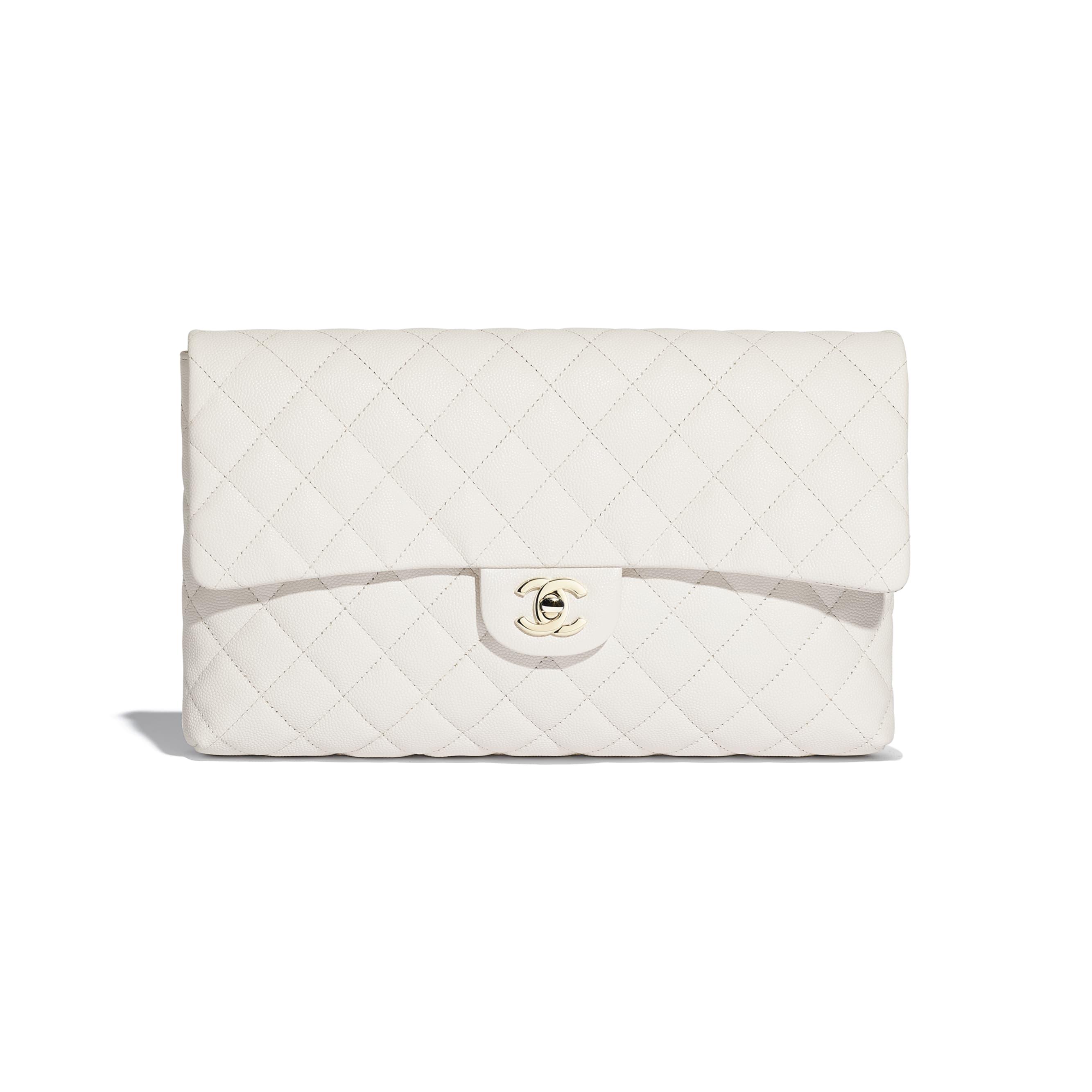 กระเป๋าคลัทช์ - สีขาว - หนังลูกวัวลายเกรน, โลหะสีทอง - มุมมองปัจจุบัน - ดูเวอร์ชันขนาดมาตรฐาน