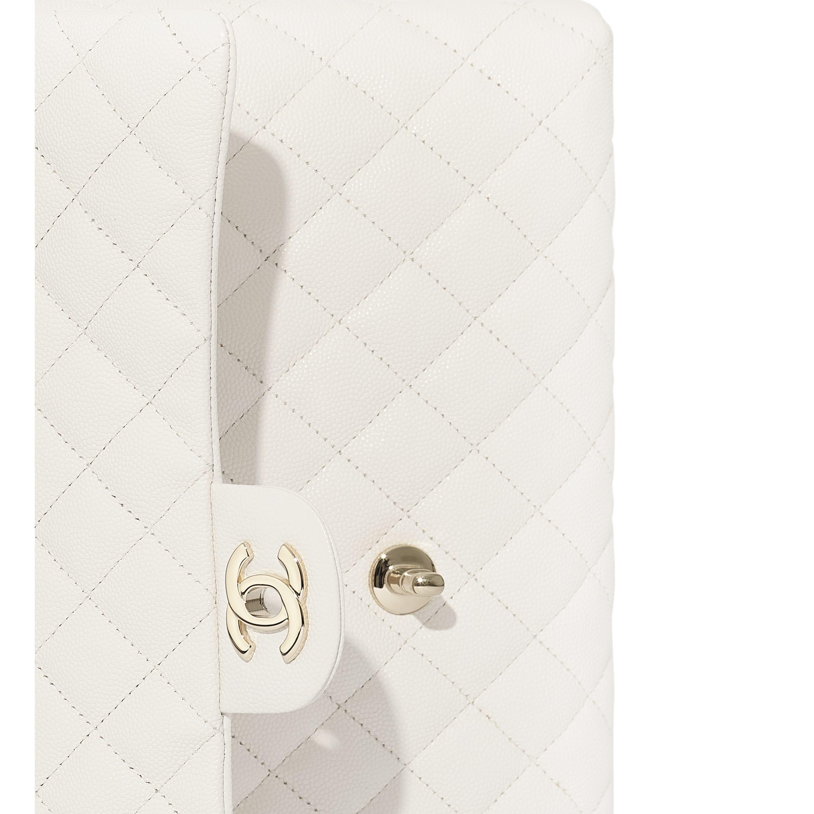 กระเป๋าคลัทช์ - สีขาว - หนังลูกวัวลายเกรน, โลหะสีทอง - มุมมองพิเศษ - ดูเวอร์ชันขนาดมาตรฐาน