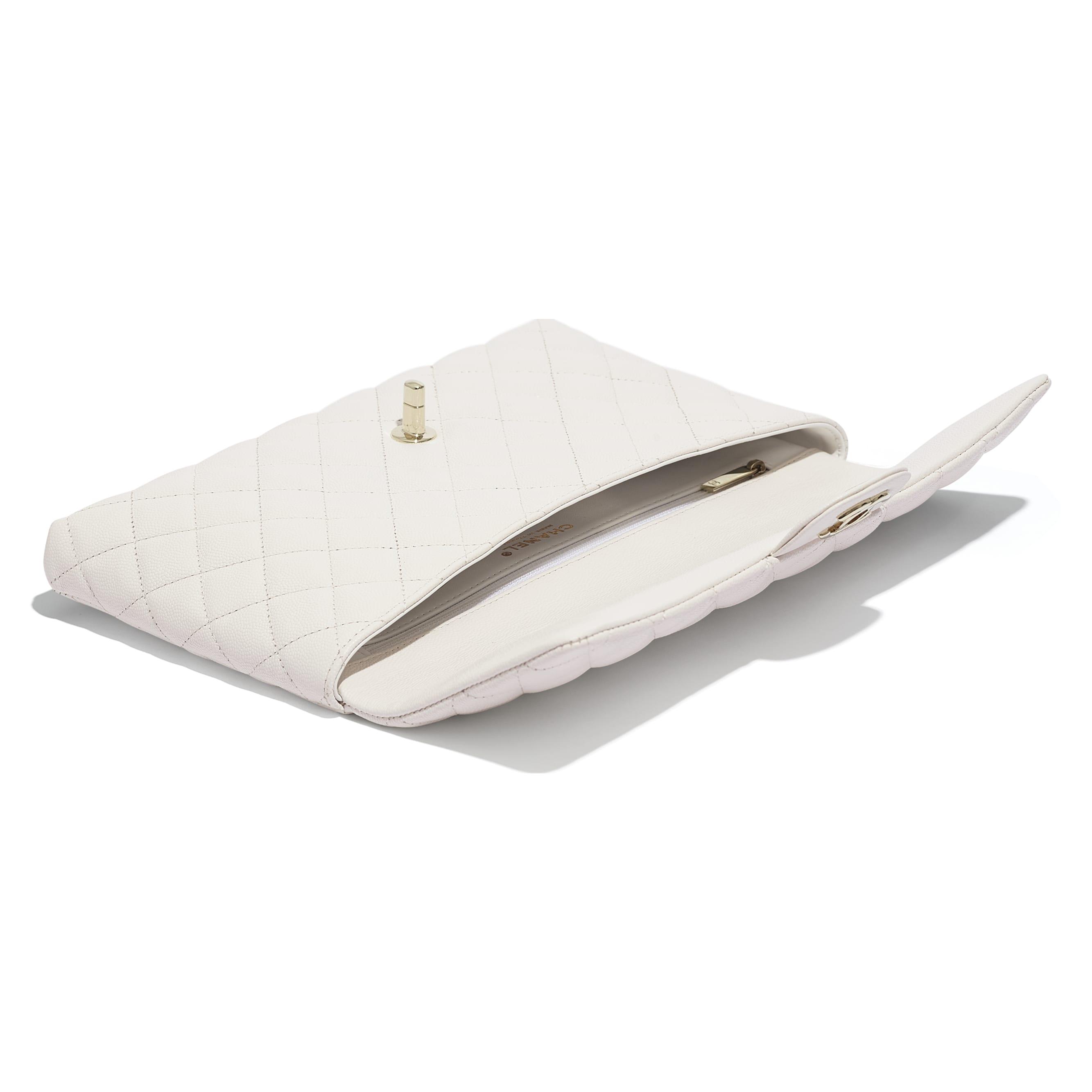 กระเป๋าคลัทช์ - สีขาว - หนังลูกวัวลายเกรน, โลหะสีทอง - มุมมองอื่น - ดูเวอร์ชันขนาดมาตรฐาน