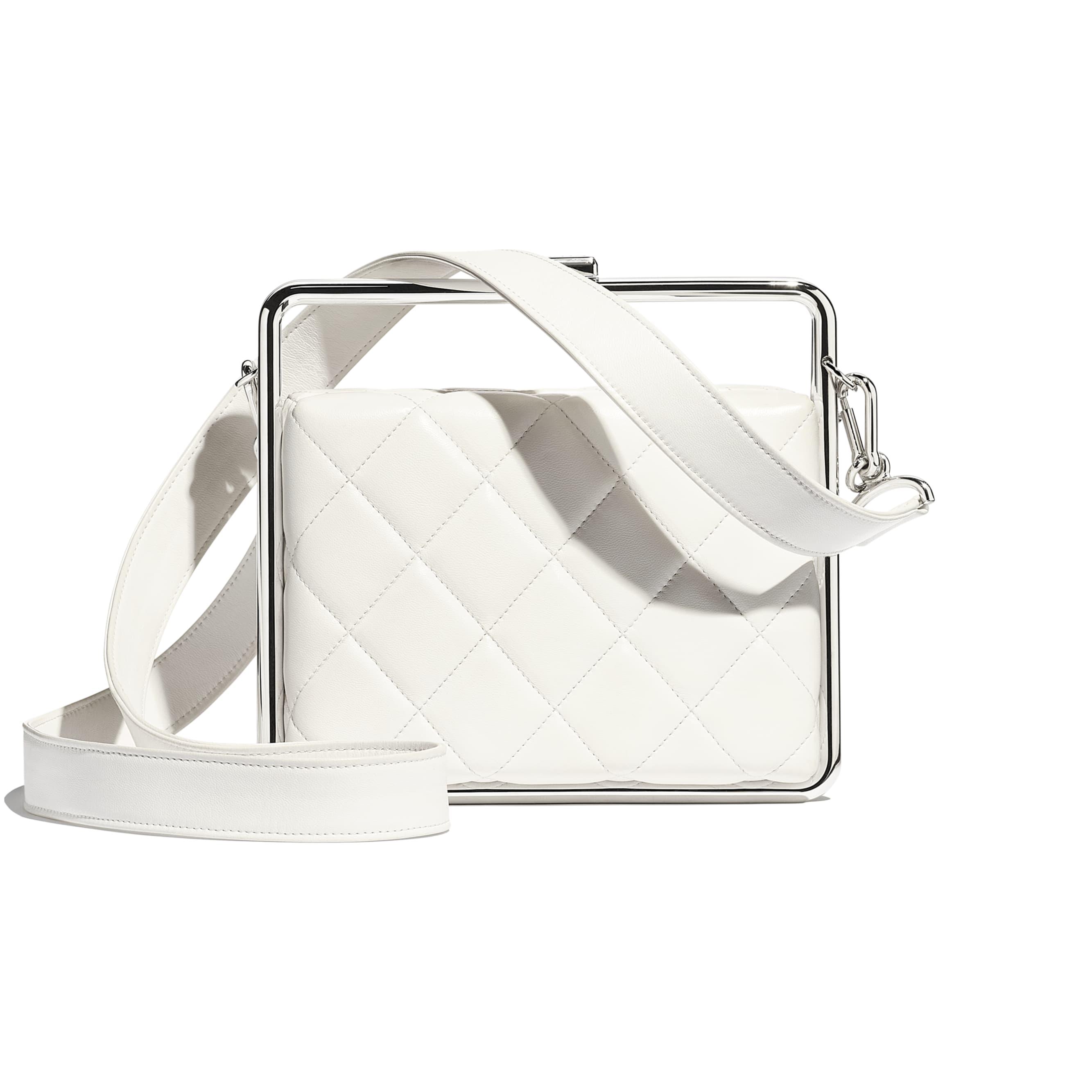 Clutch - White - Lambskin & Silver-Tone Metal - CHANEL - Alternative view - see standard sized version