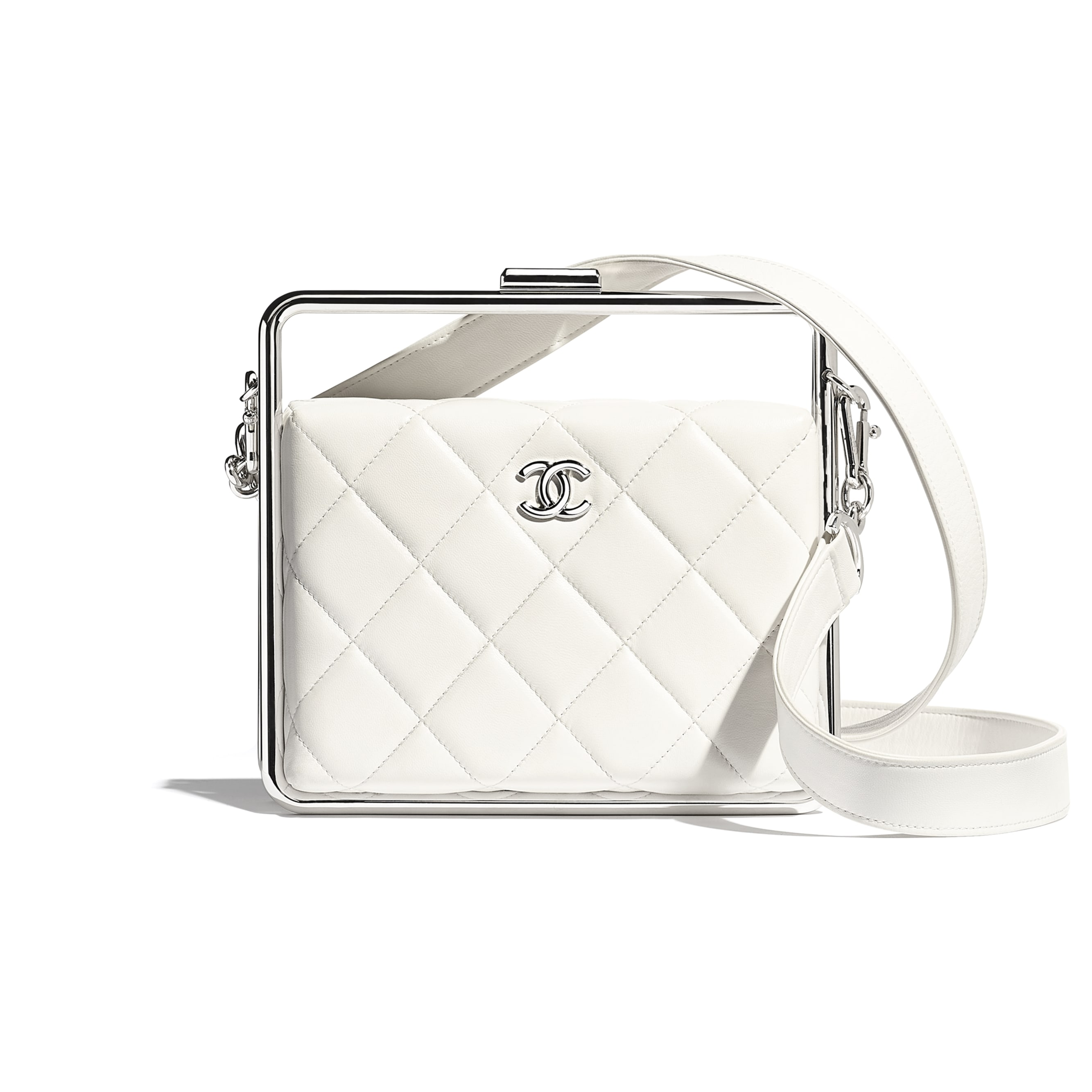 Clutch - White - Lambskin & Silver-Tone Metal - CHANEL - Default view - see standard sized version