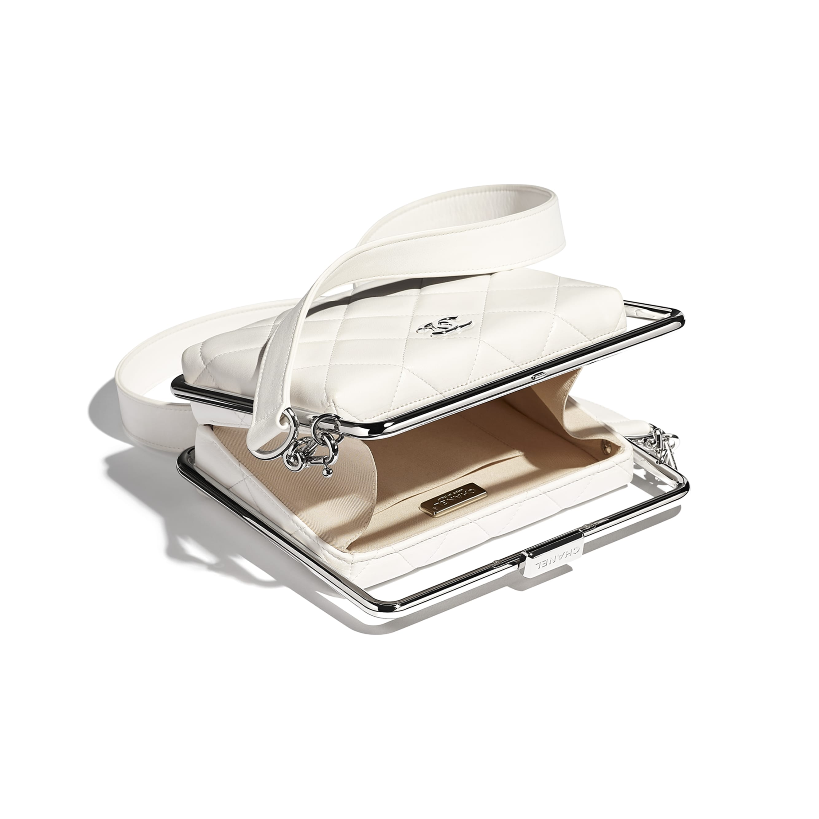 Clutch - White - Lambskin & Silver-Tone Metal - CHANEL - Other view - see standard sized version
