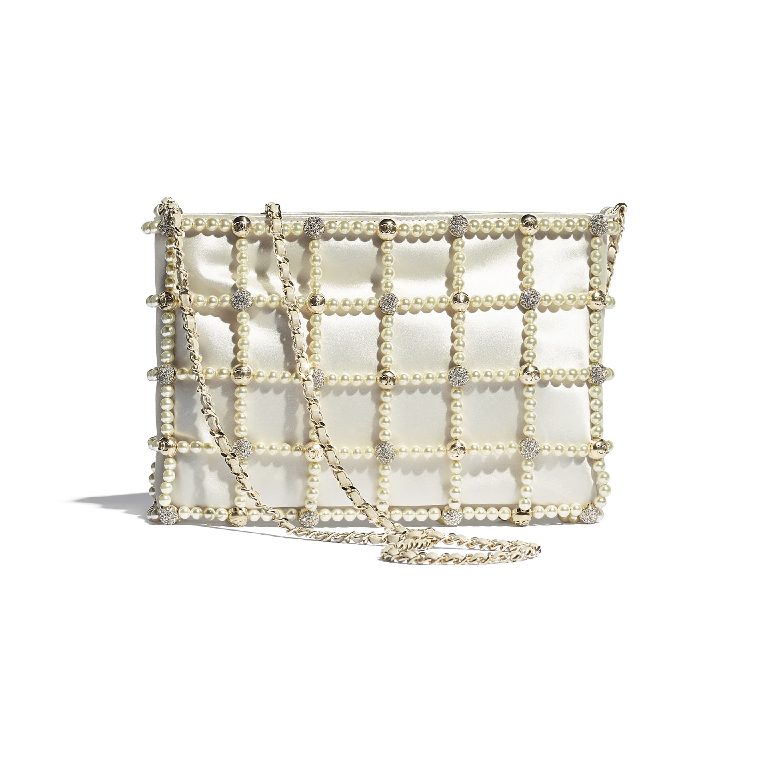 Clutch - White - Satin, Glass Pearls, Strass & Gold-Tone Metal - CHANEL - Alternative view - see standard sized version
