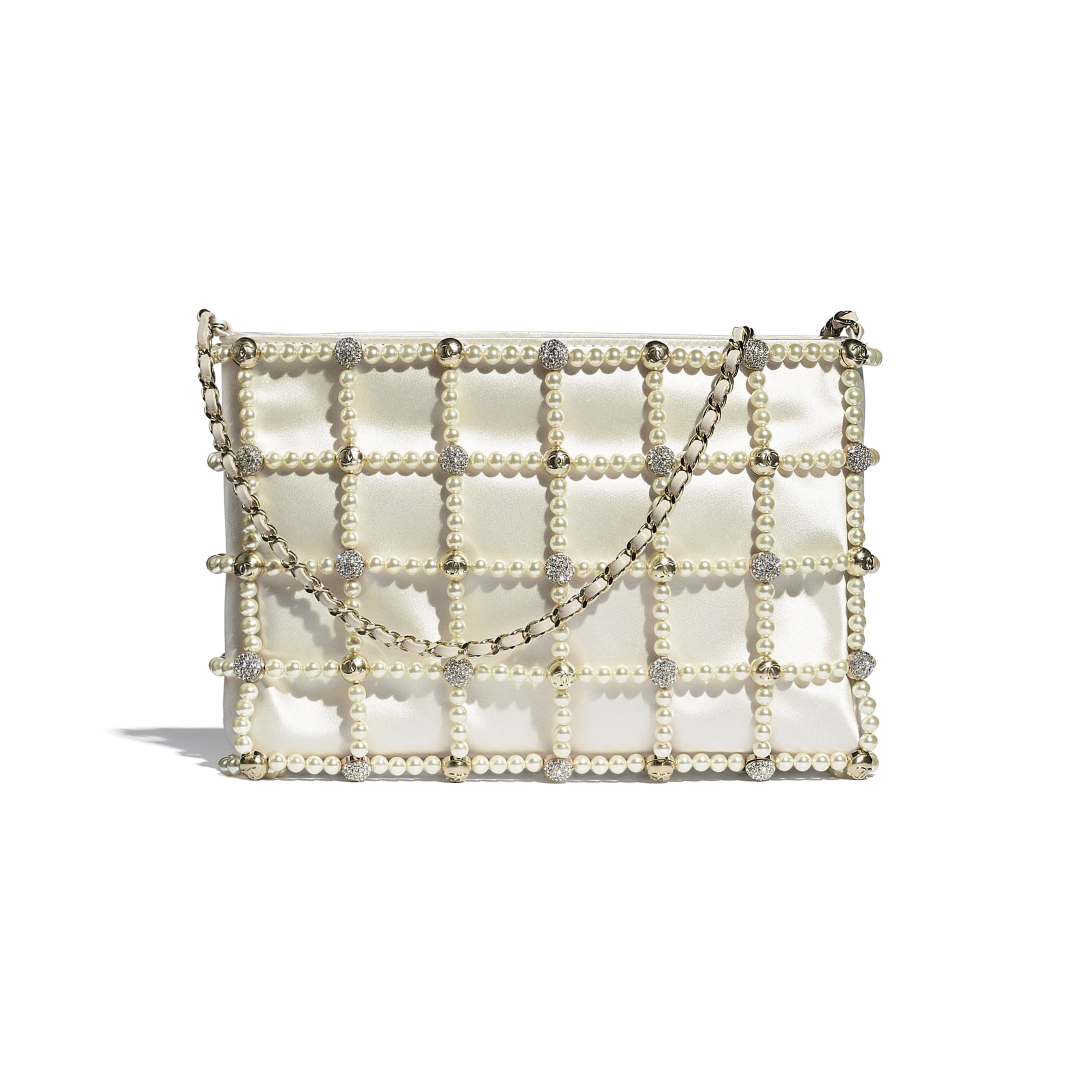 Clutch - White - Satin, Glass Pearls, Strass & Gold-Tone Metal - CHANEL - Default view - see standard sized version