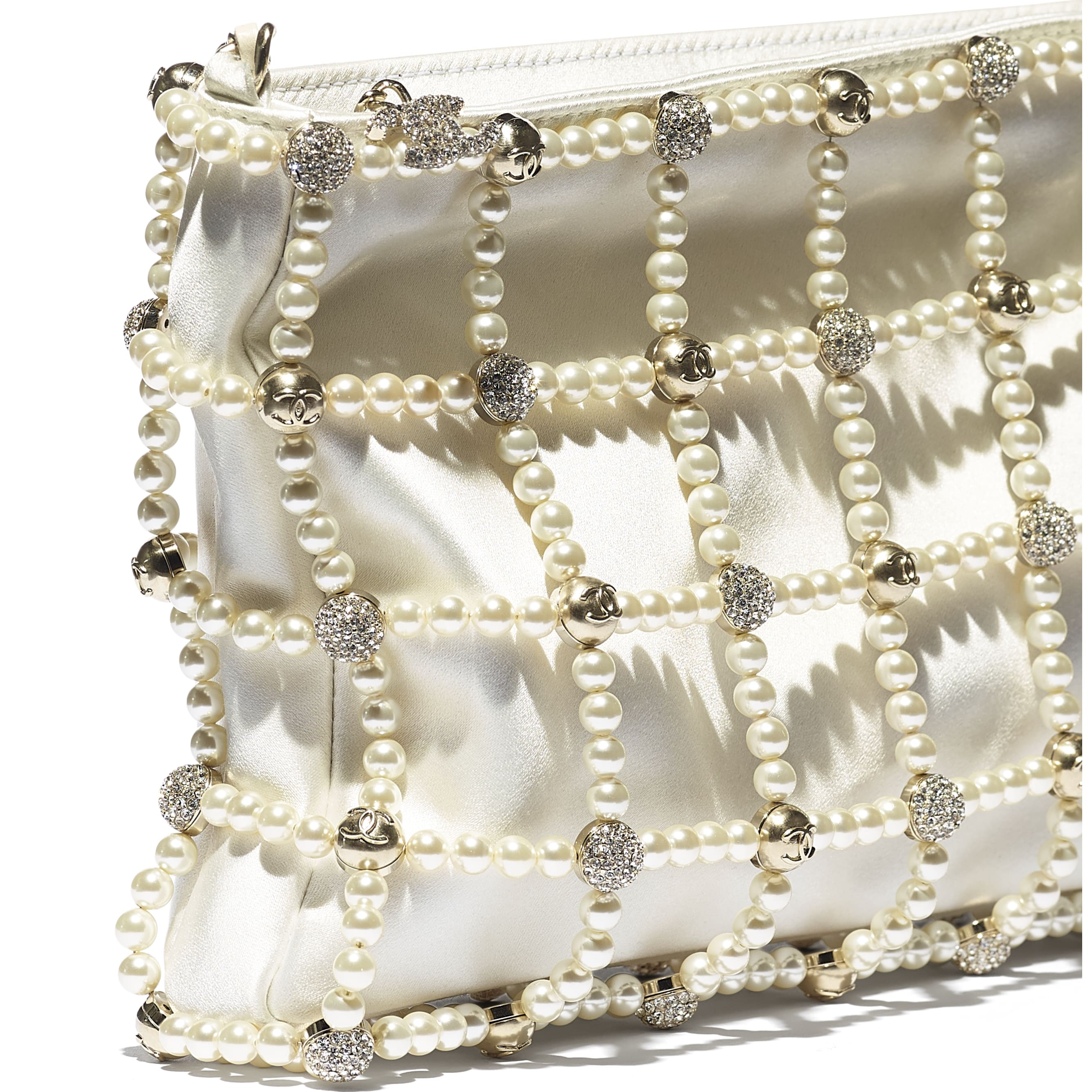 Clutch - White - Satin, Glass Pearls, Strass & Gold-Tone Metal - CHANEL - Extra view - see standard sized version
