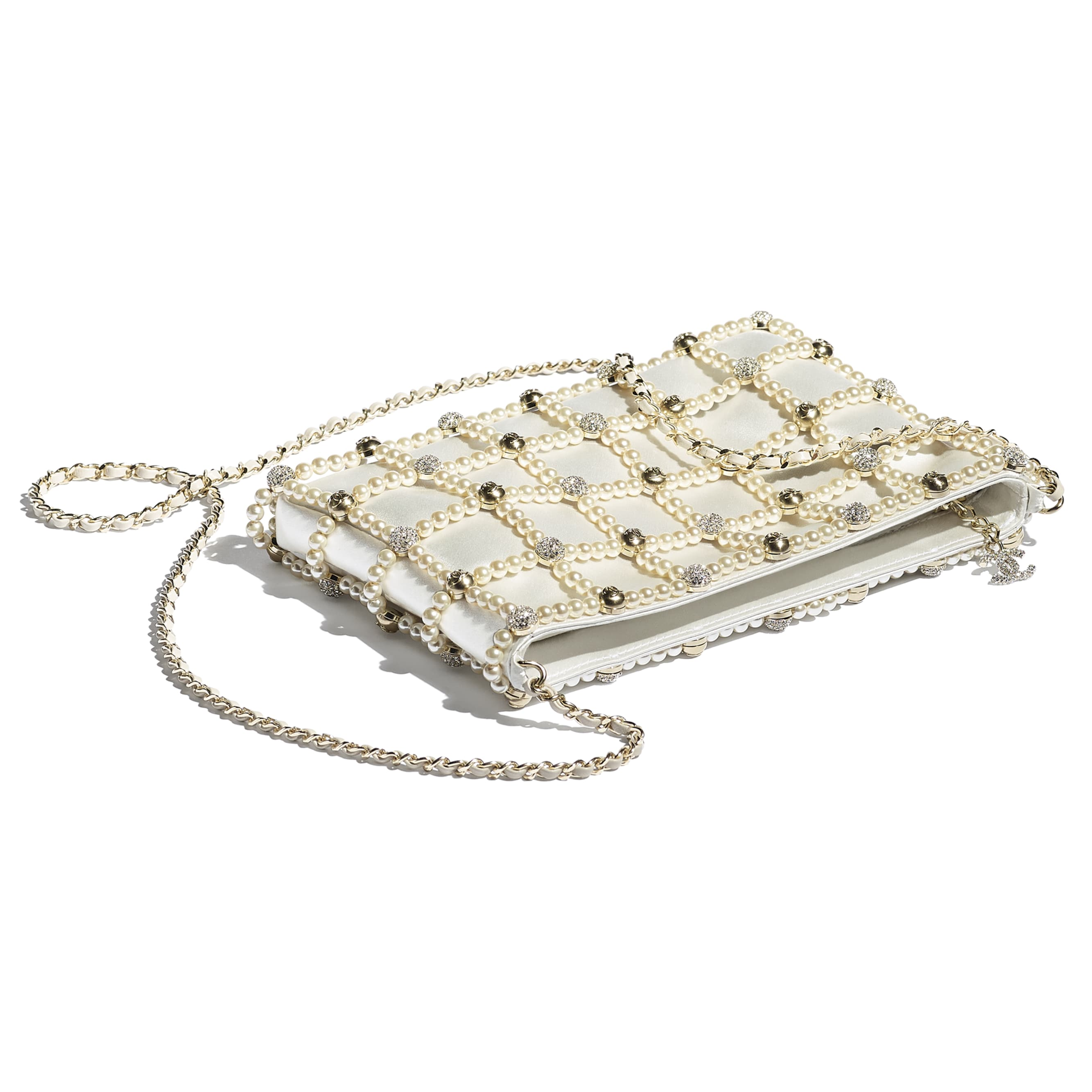 Clutch - White - Satin, Glass Pearls, Strass & Gold-Tone Metal - CHANEL - Other view - see standard sized version