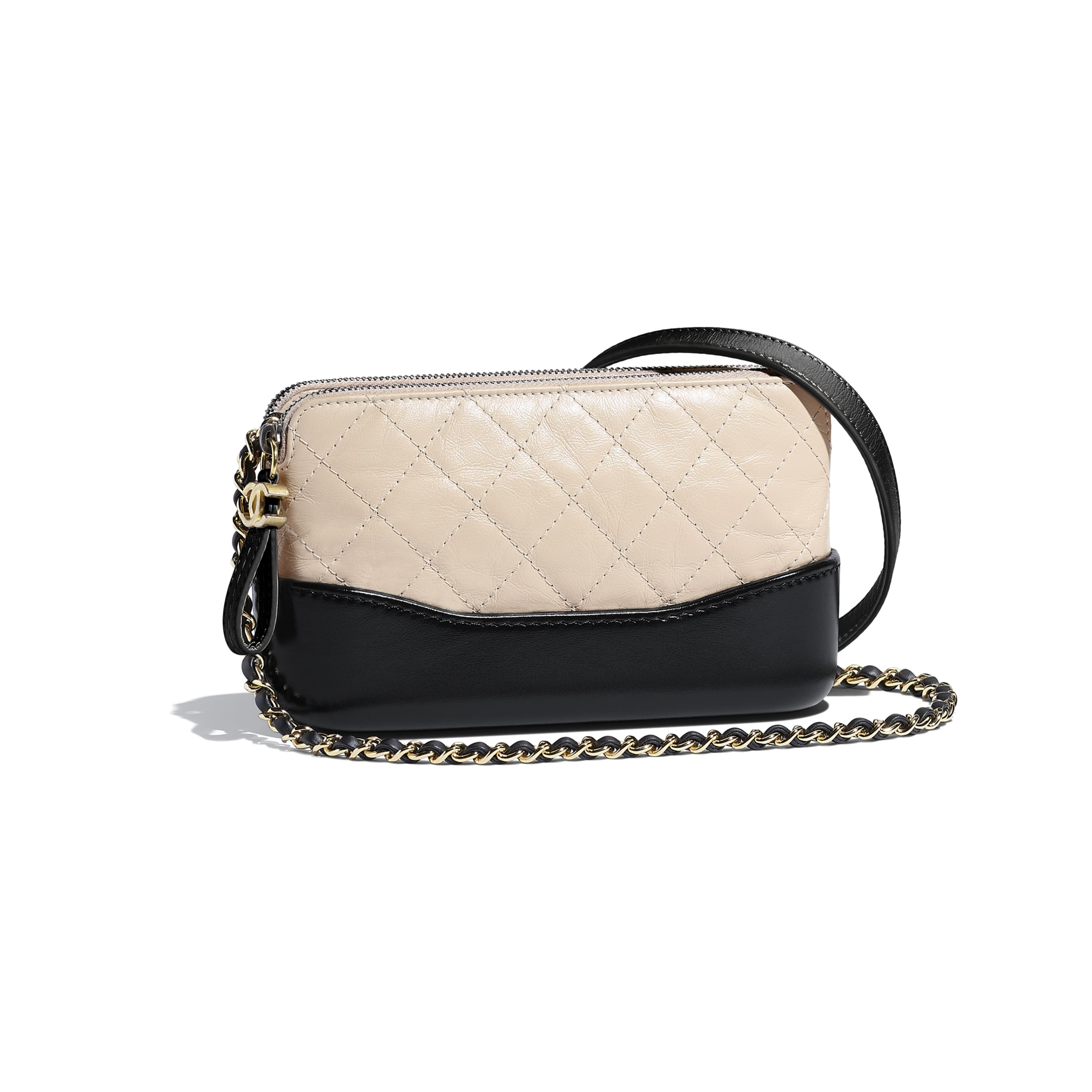 Clutch With Chain - Beige & Black - Aged Calfskin, Smooth Calfskin, Silver-Tone & Gold-Tone Metal - Default view - see standard sized version