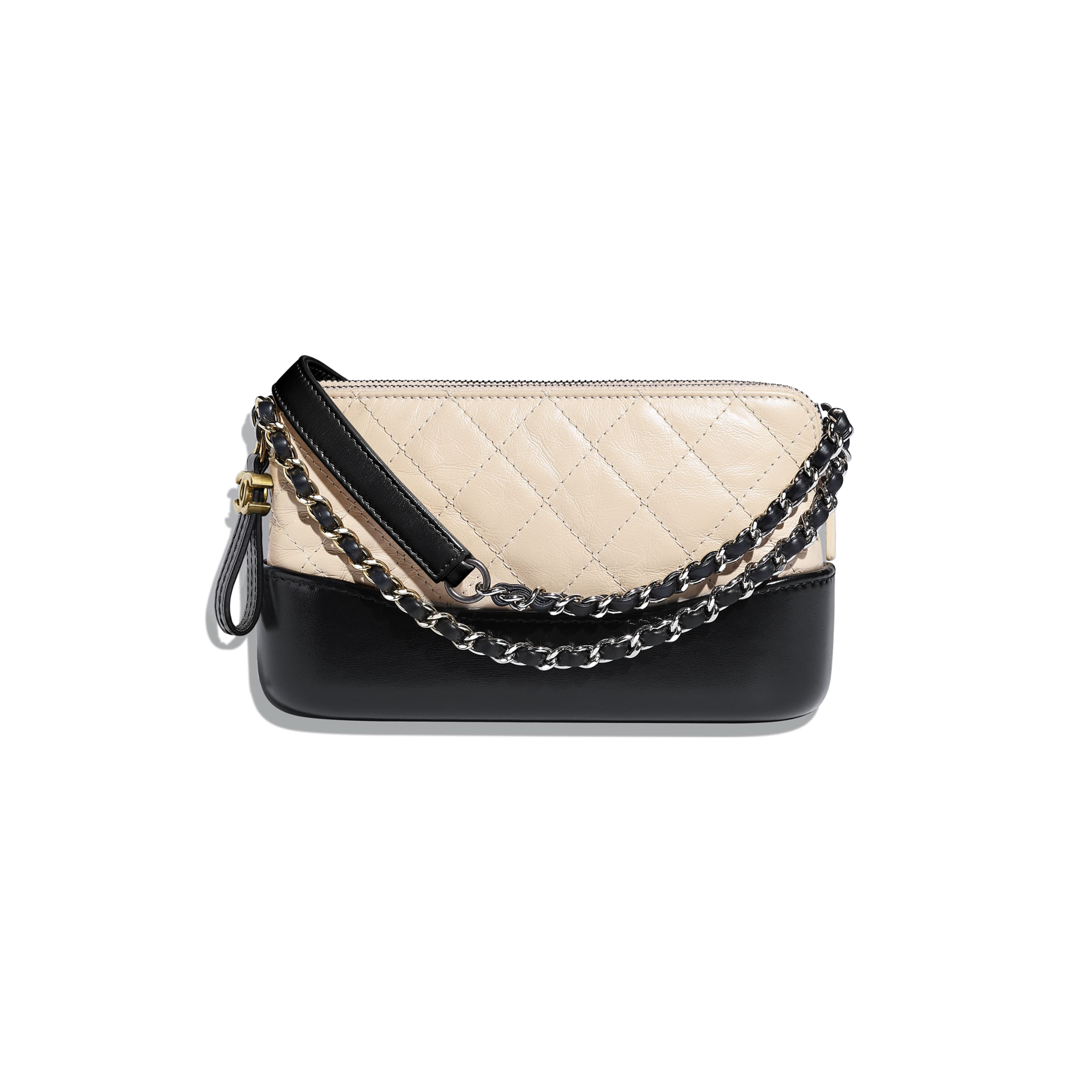 Clutch With Chain - Beige & Black - Aged Calfskin, Smooth Calfskin, Silver-Tone & Gold-Tone Metal - Other view - see standard sized version