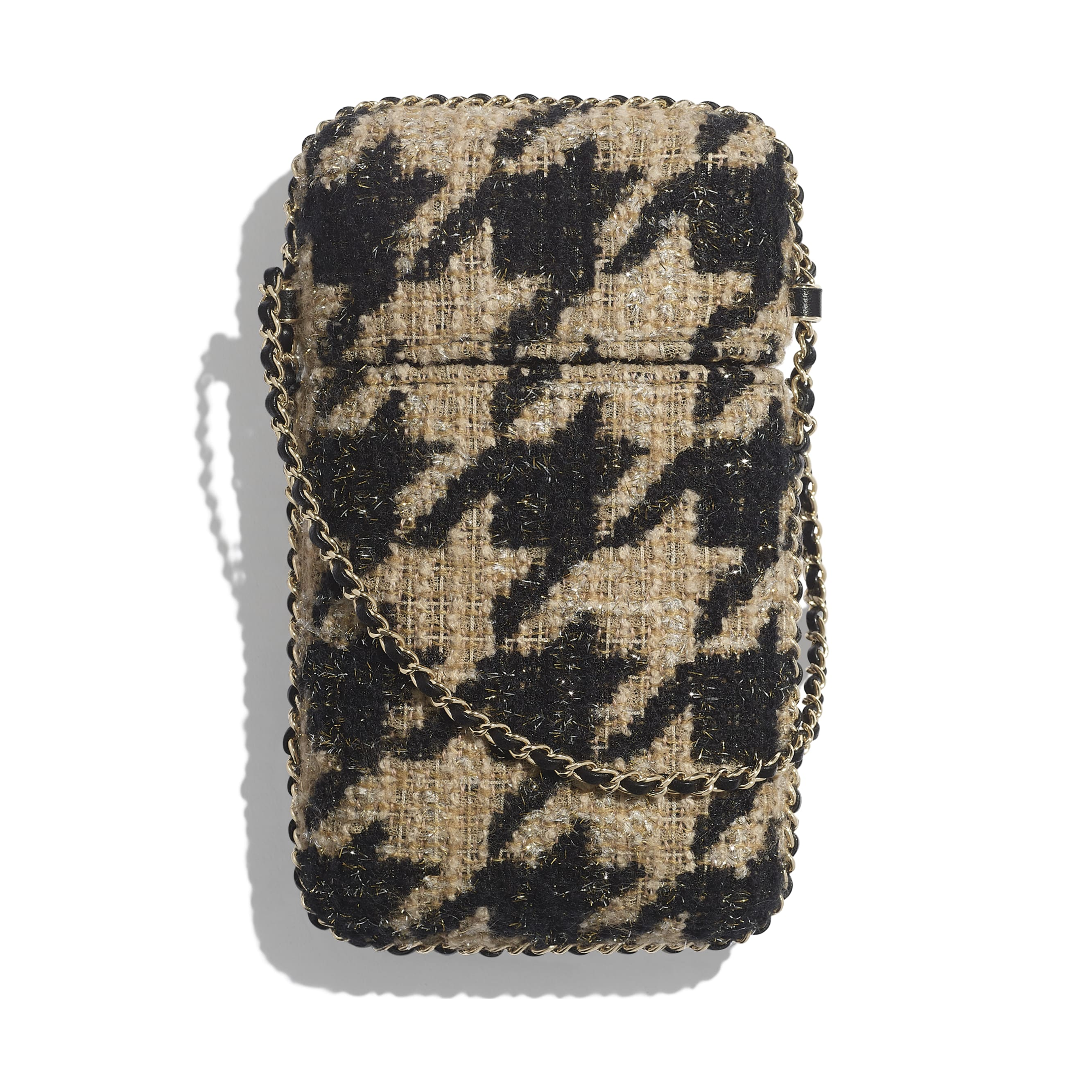 Clutch With Chain - Beige & Black - Tweed & Gold Metal - Alternative view - see standard sized version