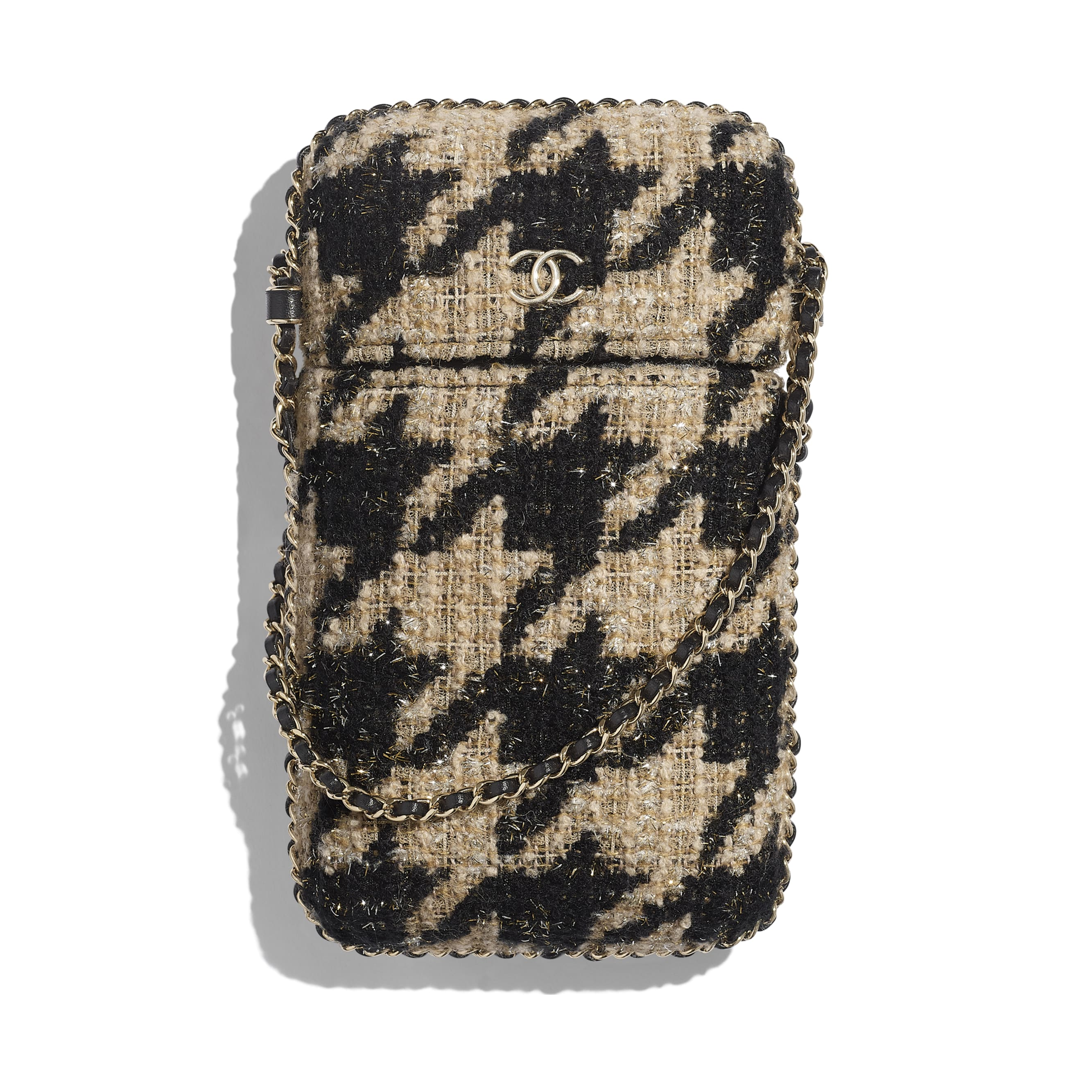 Clutch With Chain - Beige & Black - Tweed & Gold Metal - Default view - see standard sized version