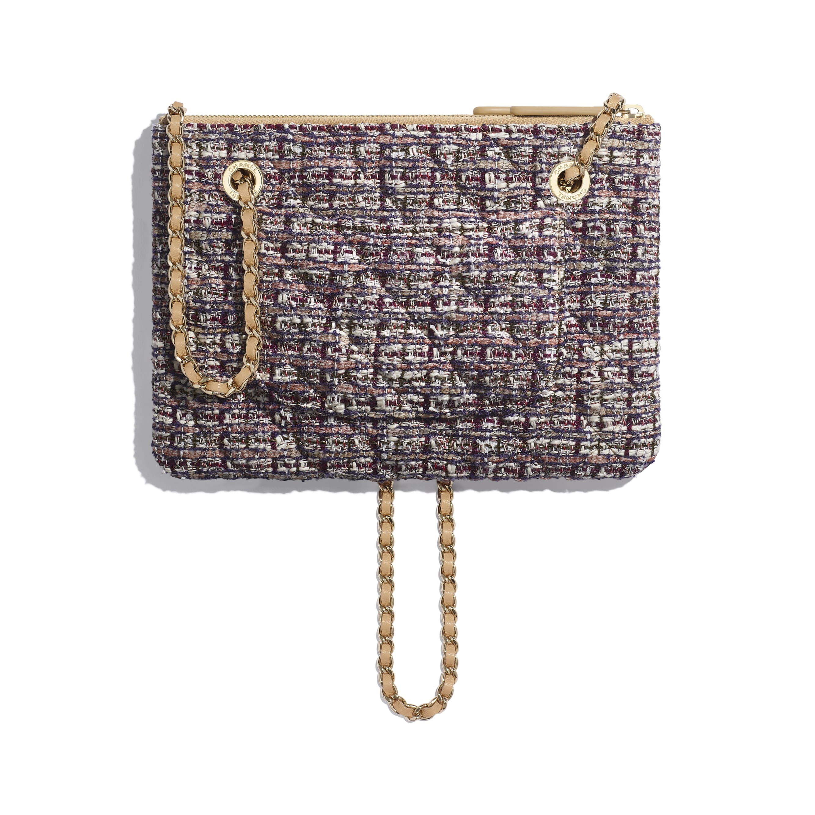 Clutch With Chain - Beige, Burgundy, Ecru & Navy Blue - Tweed, Lambskin & Gold Metal - Alternative view - see standard sized version