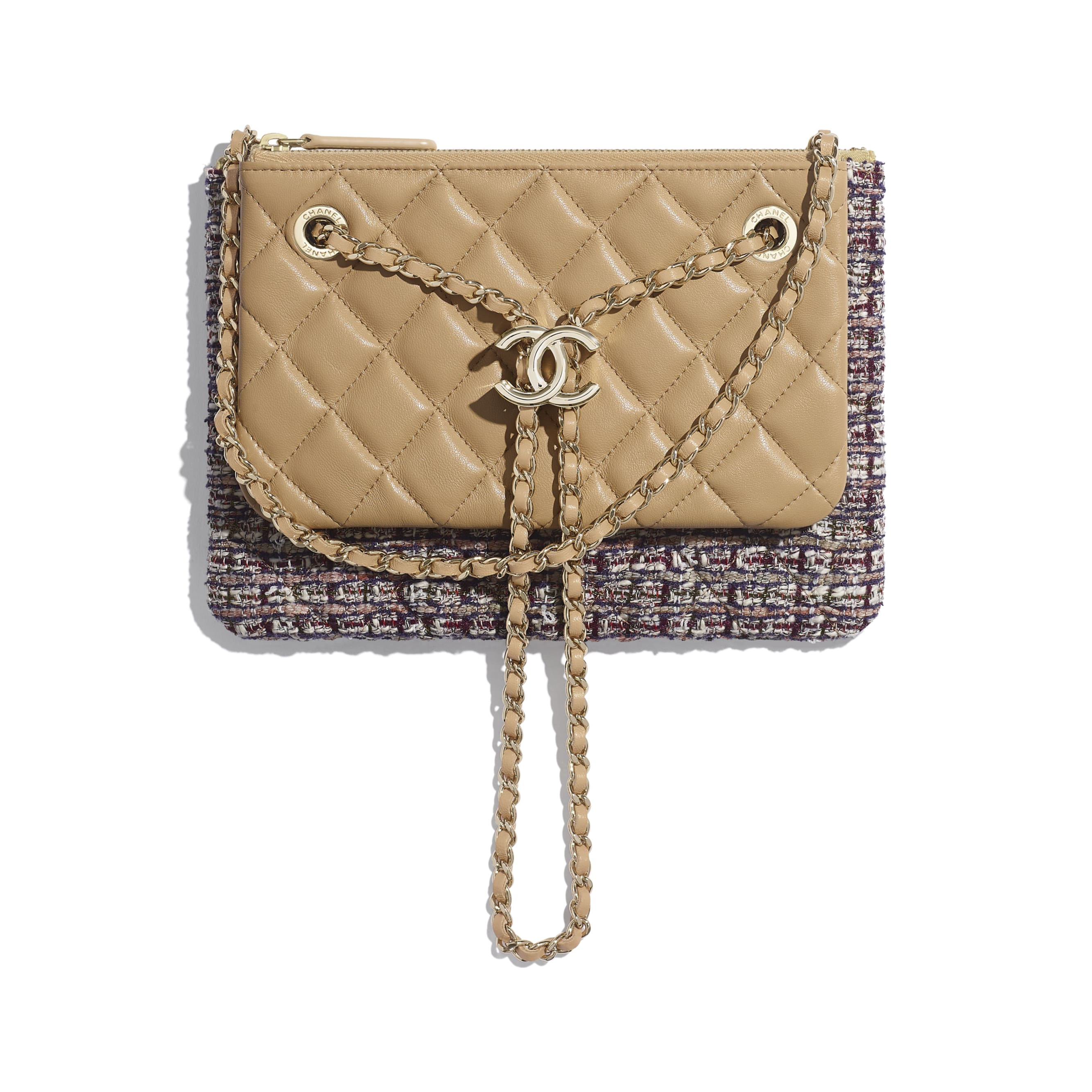 Clutch With Chain - Beige, Burgundy, Ecru & Navy Blue - Tweed, Lambskin & Gold Metal - Default view - see standard sized version