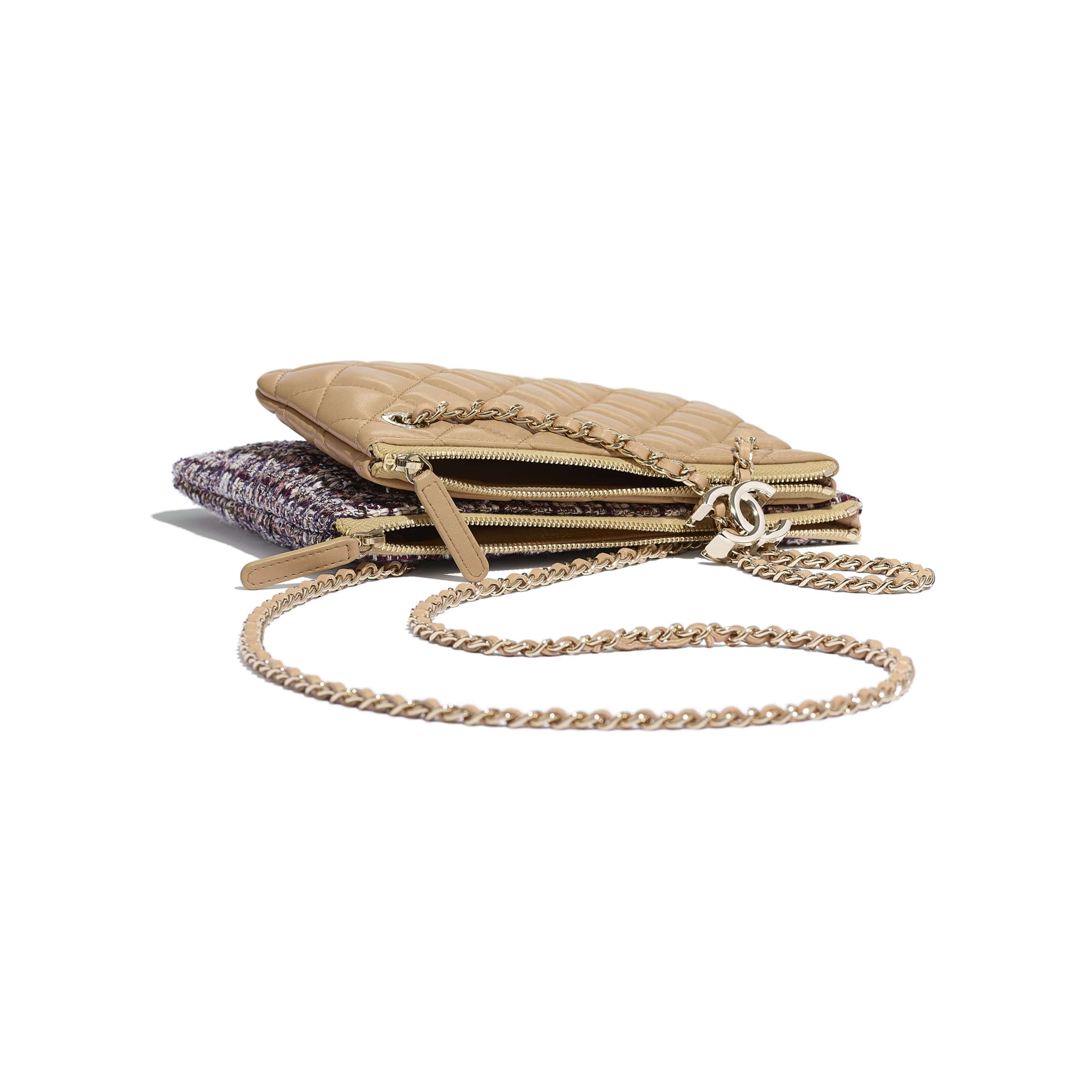 Clutch With Chain - Beige, Burgundy, Ecru & Navy Blue - Tweed, Lambskin & Gold Metal - Extra view - see standard sized version