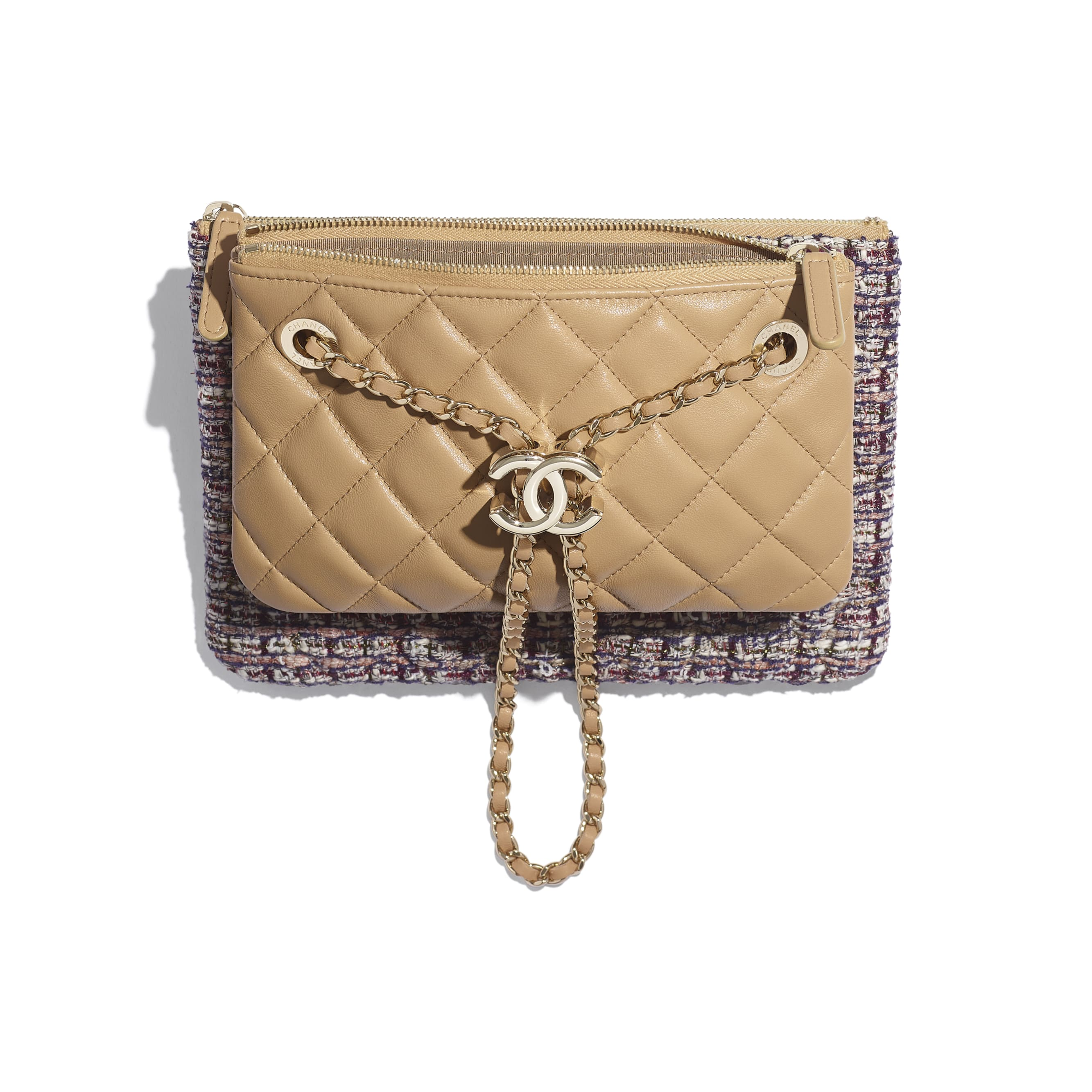 Clutch With Chain - Beige, Burgundy, Ecru & Navy Blue - Tweed, Lambskin & Gold Metal - Other view - see standard sized version