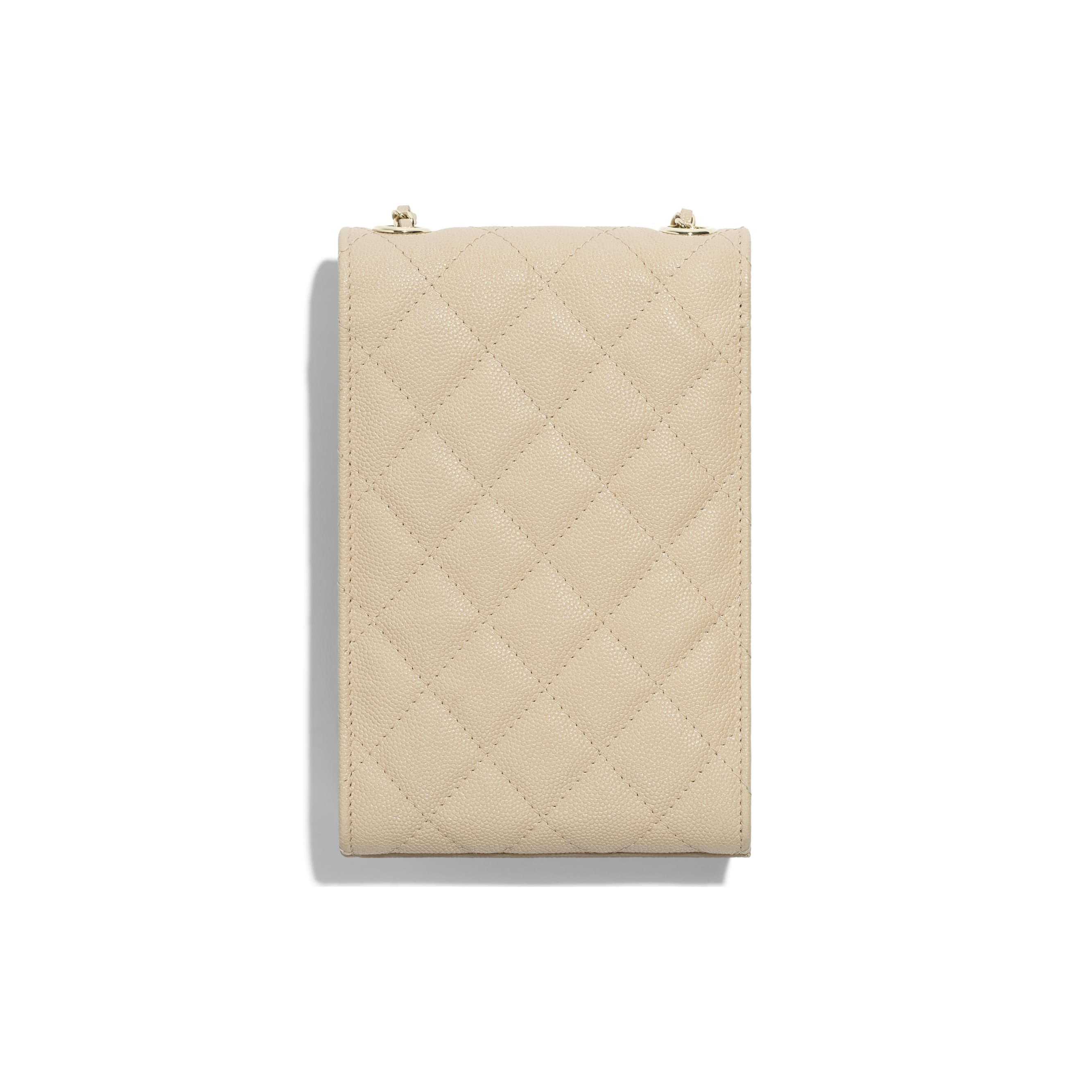 Clutch With Chain - Beige - Grained Goatskin & Gold Metal - Alternative view - see standard sized version